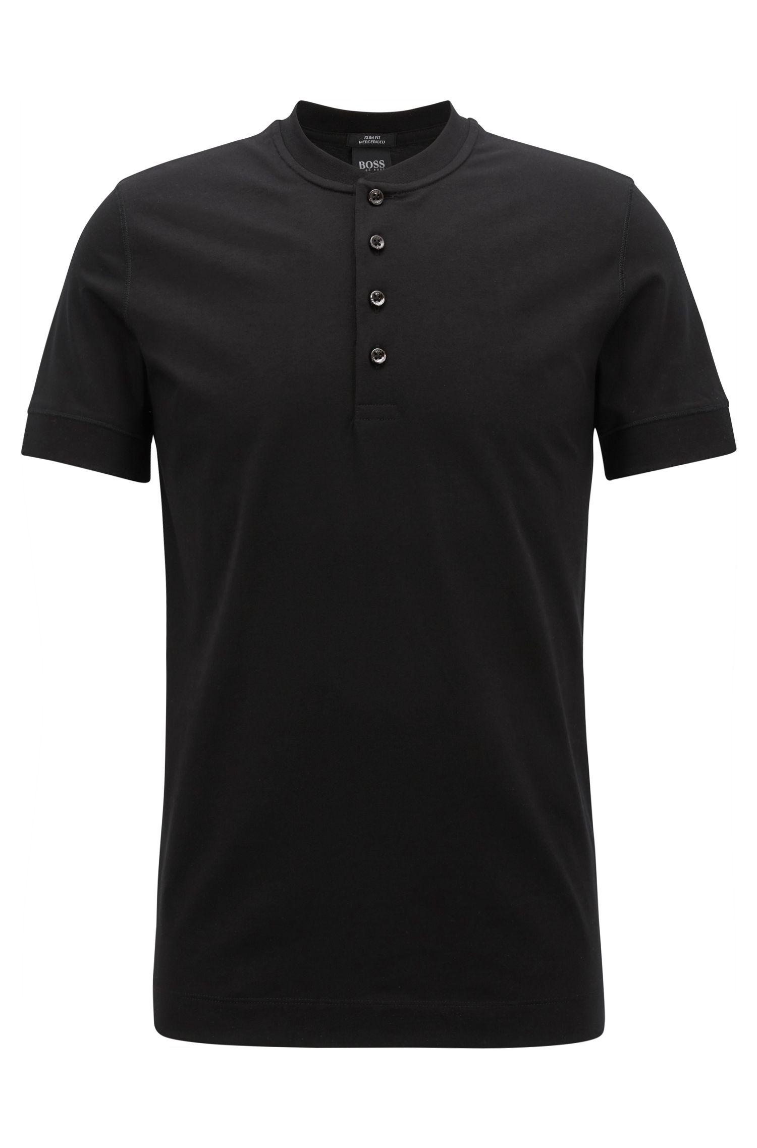 Camiseta Henley slim fit en tejido de punto mercerizado