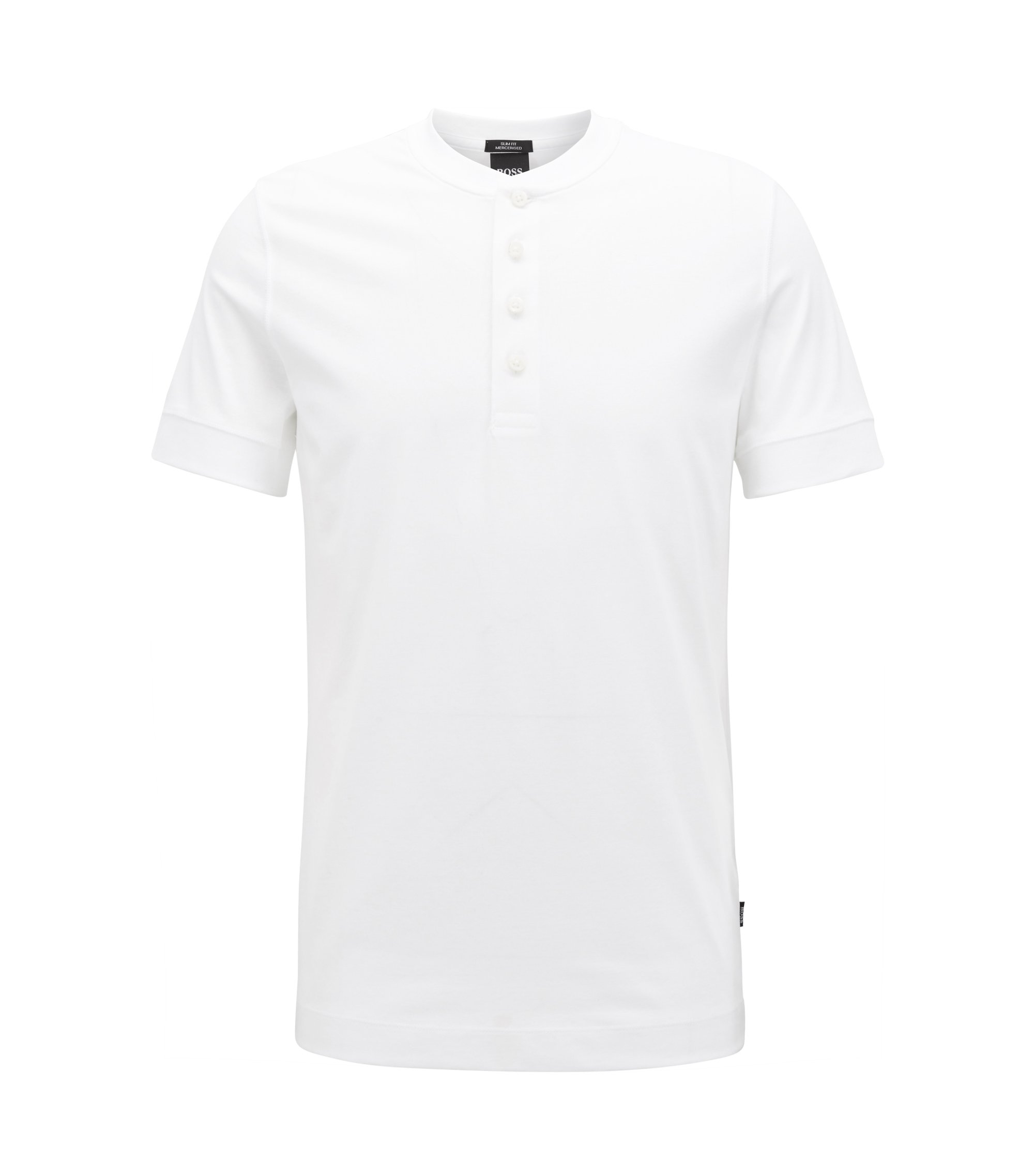 Slim-fit Henley T-shirt in mercerised jersey, White