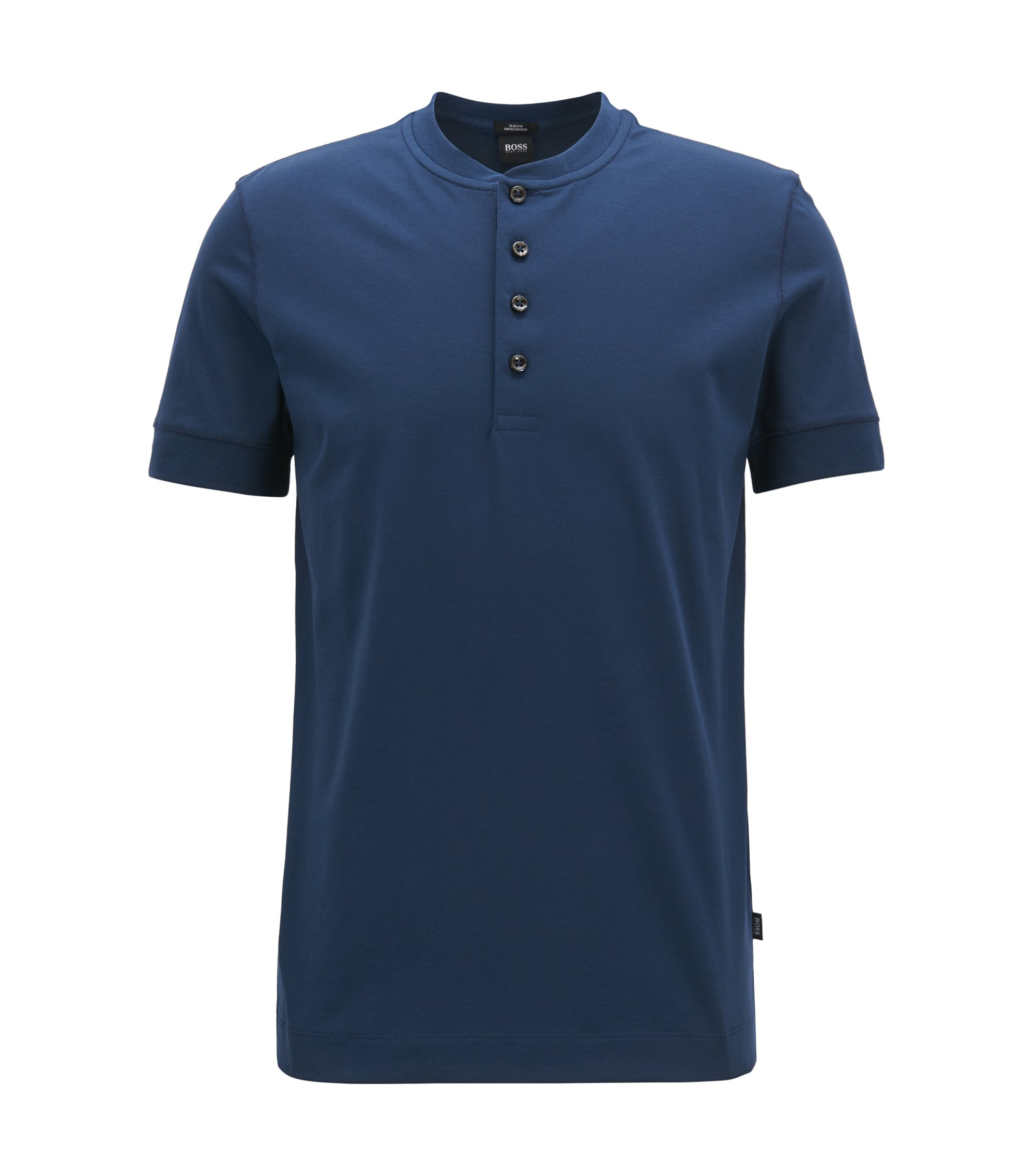 Slim-fit Henley T-shirt in mercerised jersey, Dark Blue