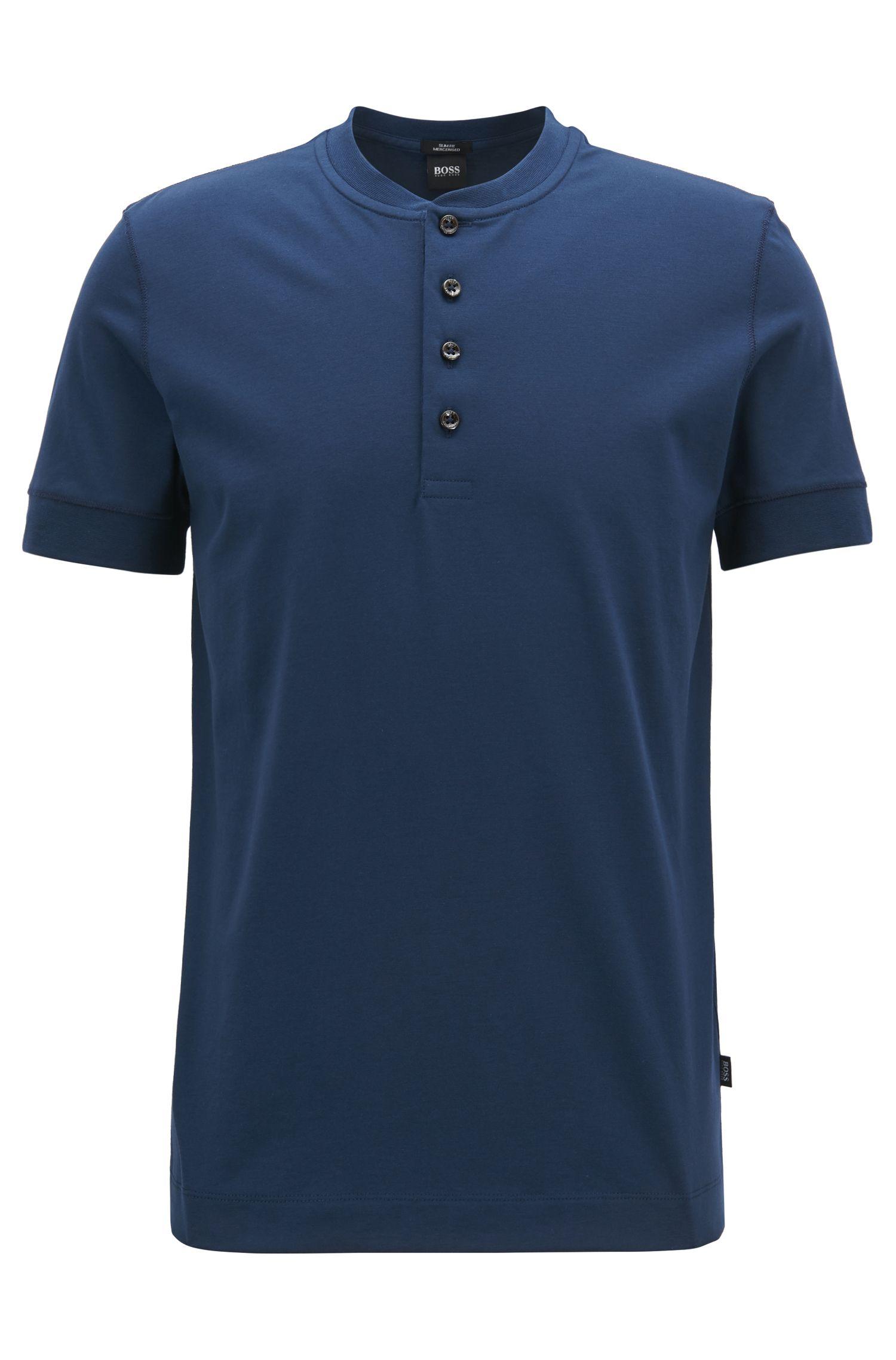 Slim-fit Henley T-shirt in mercerised jersey