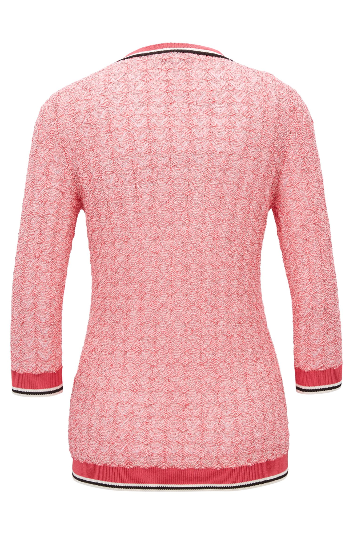 Bouclé sweater with contrast trims