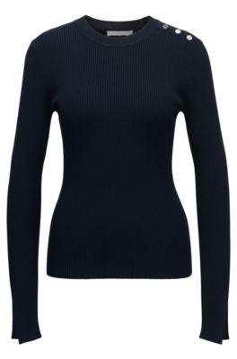 Gerippter Pullover aus Material-Mix mit Rundhalsausschnitt und maritimen Knöpfen, Dunkelblau