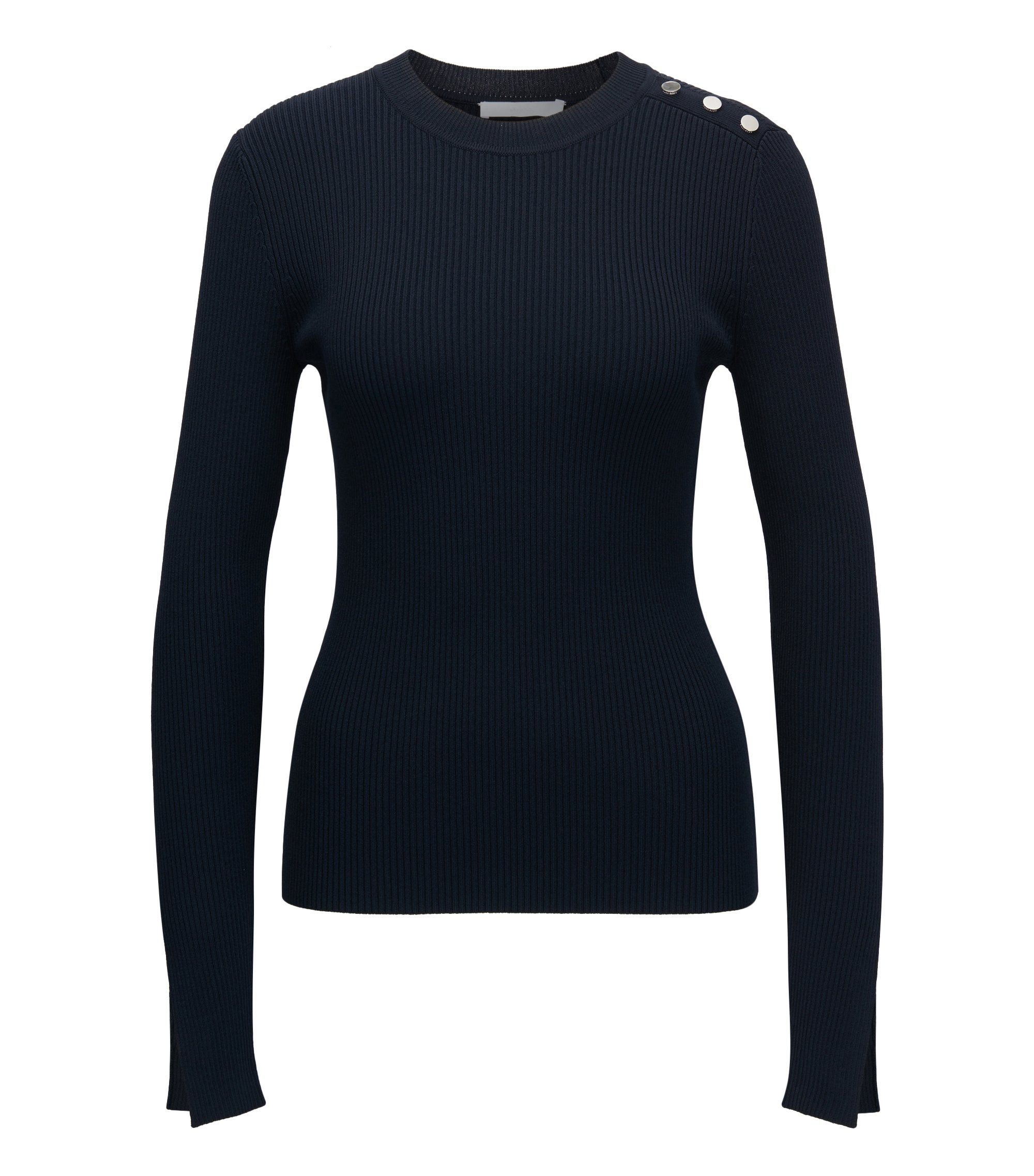 Ribbed crew-neck sweater with nautical button detail, Dark Blue
