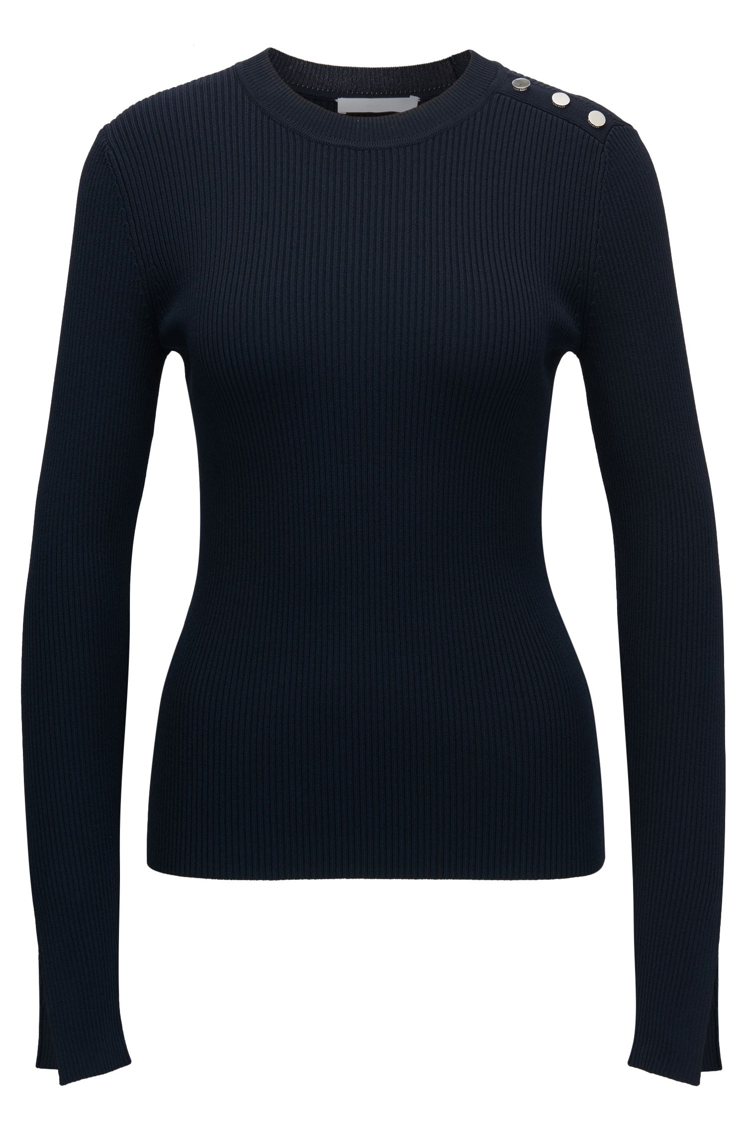 Ribbed crew-neck sweater with nautical button detail