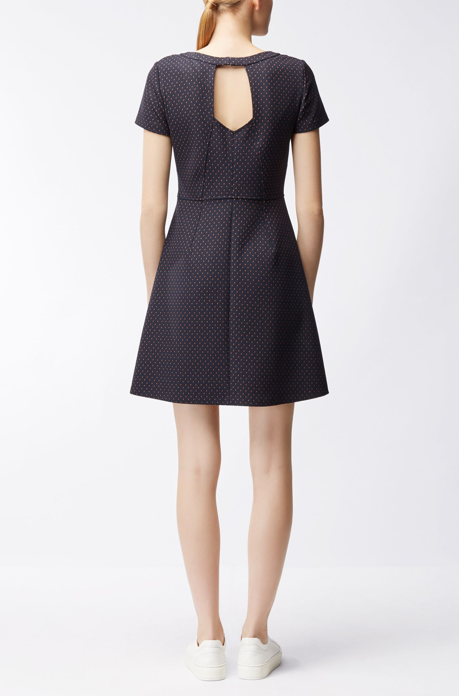Waisted dress in patterned stretch fabric BOSS
