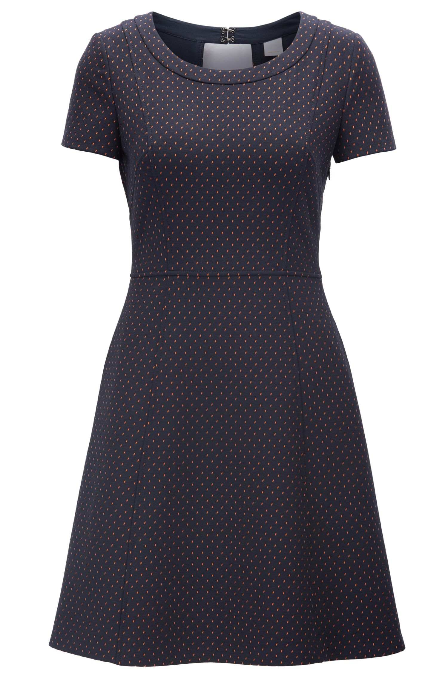 Waisted dress in patterned stretch fabric