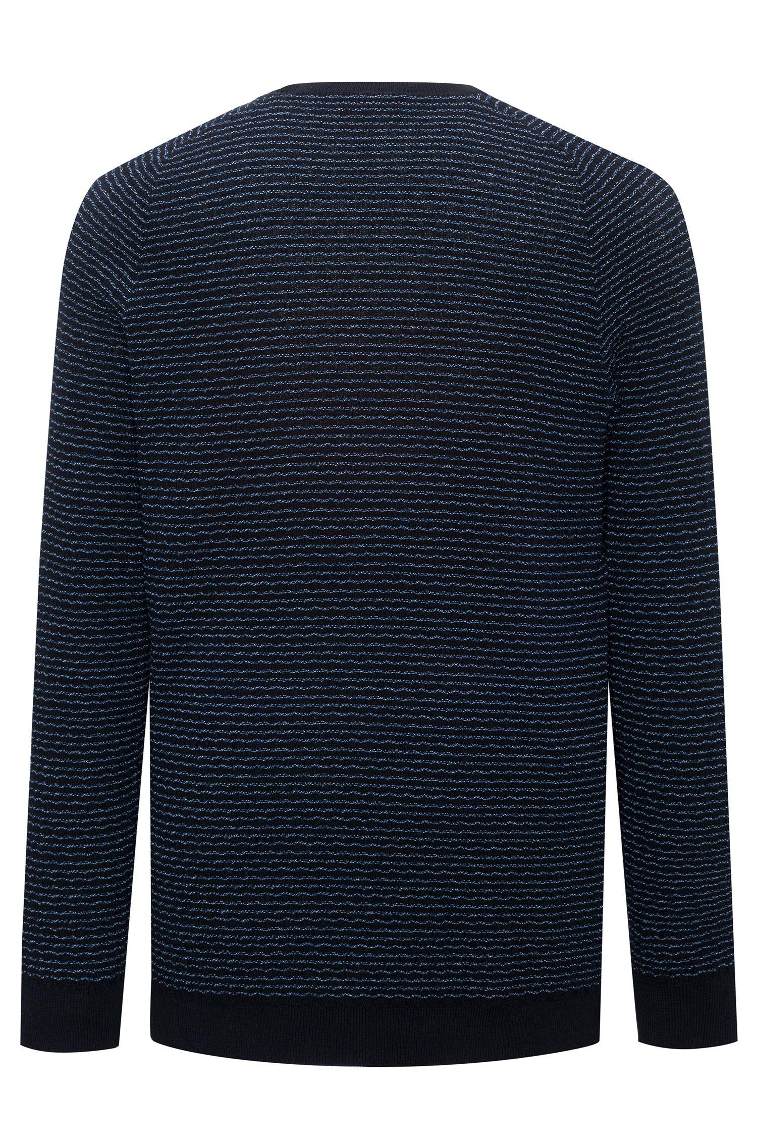Cotton sweater with seersucker texture