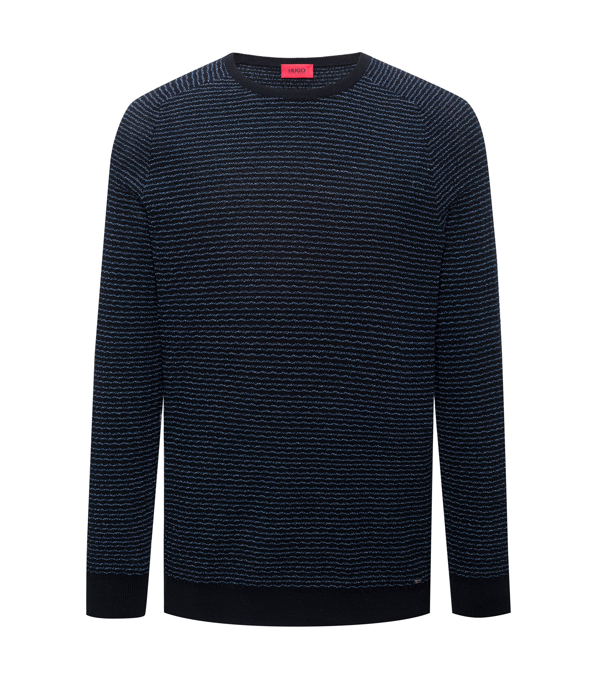 Baumwoll-Pullover mit Seersucker-Struktur, Schwarz