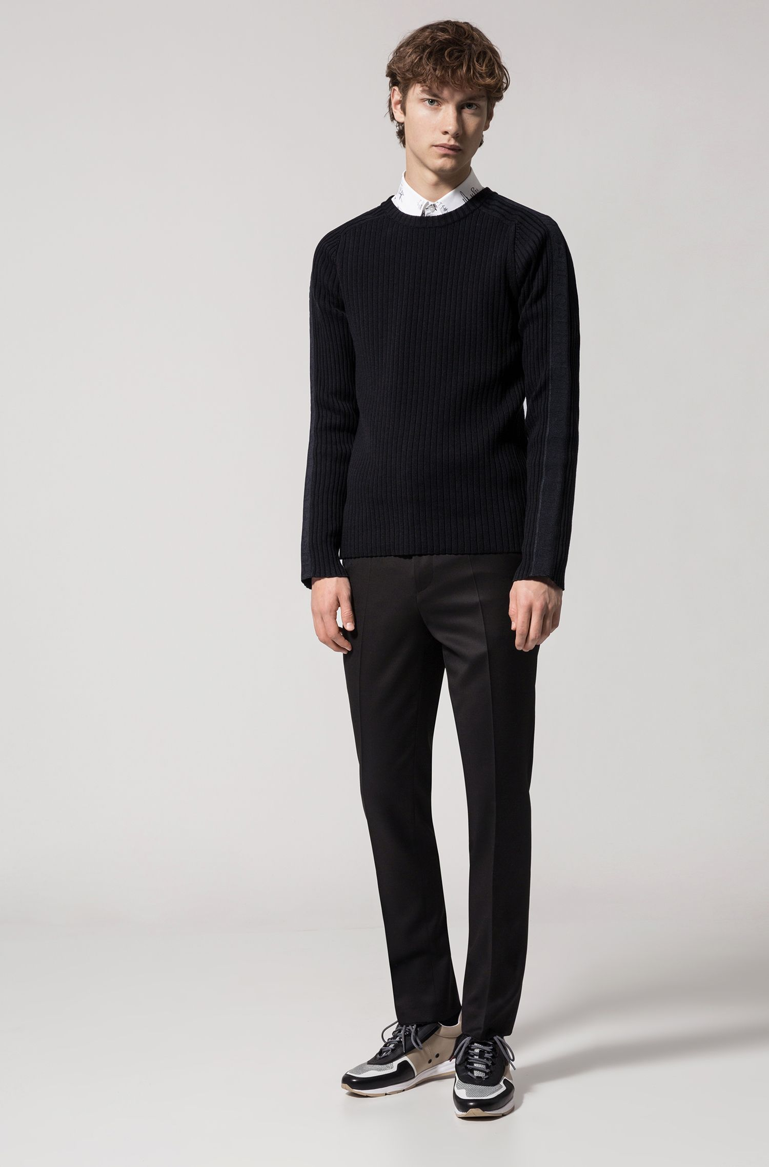 Ribbed cotton sweater with sleeve stripe, Black