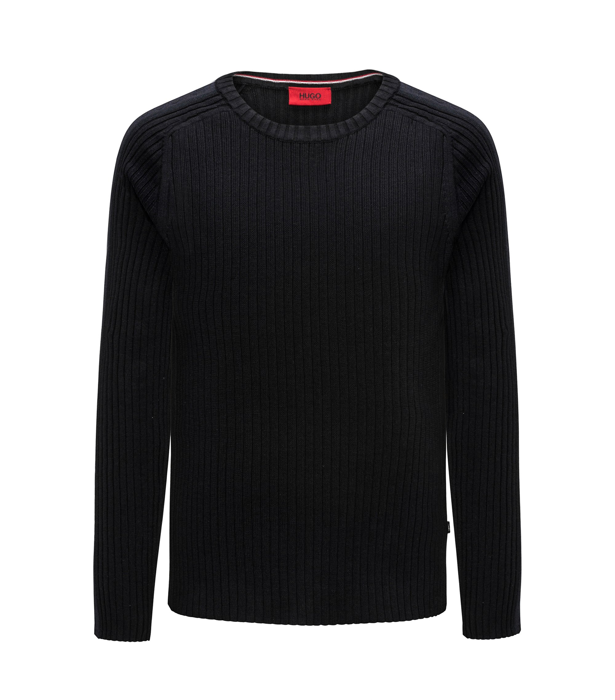 Maglione in cotone a coste con riga sulla manica, Nero