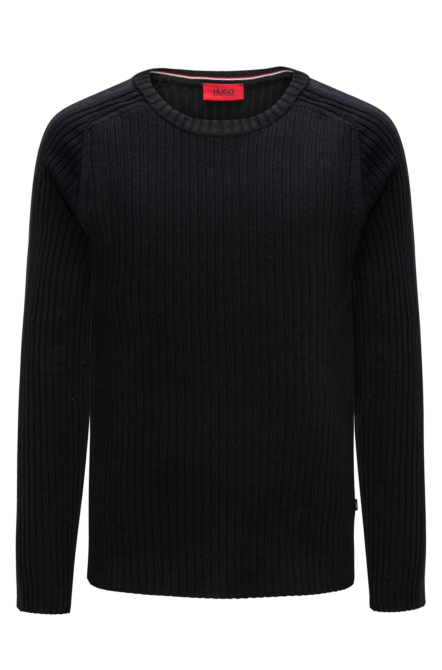 Ribbed cotton sweater with sleeve stripe