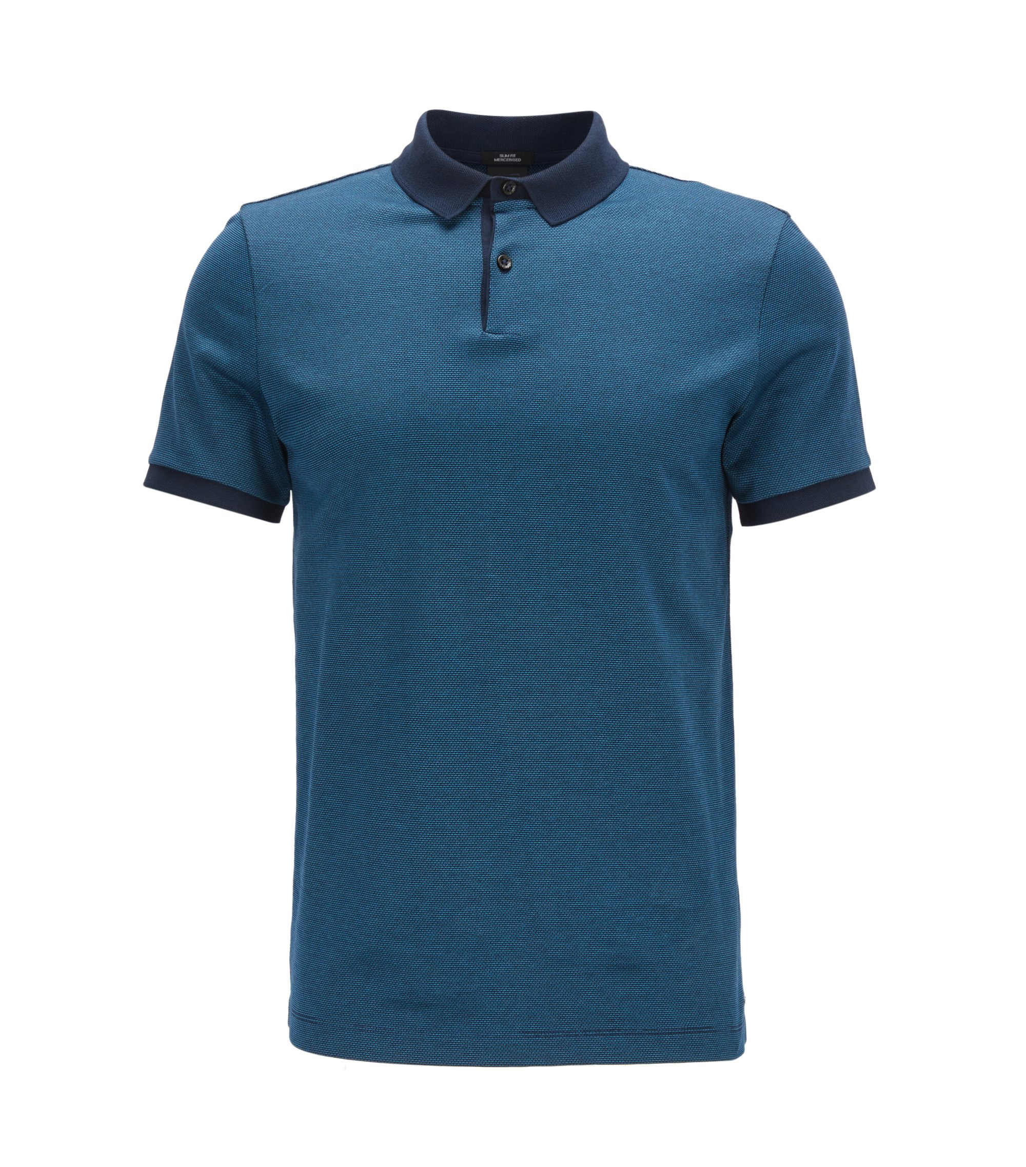Polo slim fit in cotone jacquard mercerizzato, Blu scuro