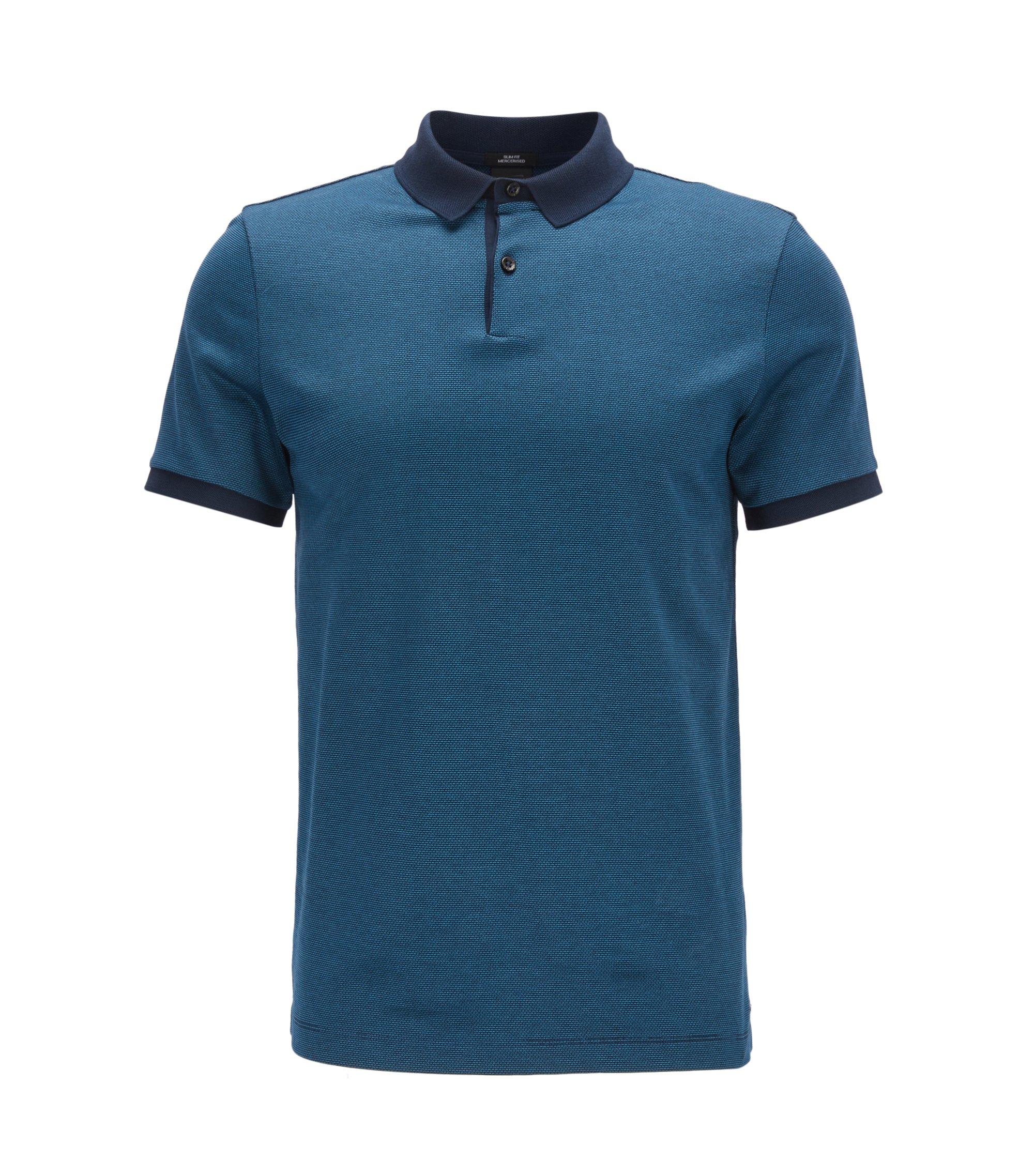 Slim-Fit Poloshirt aus merzerisiertem Baumwoll-Jacquard, Dunkelblau