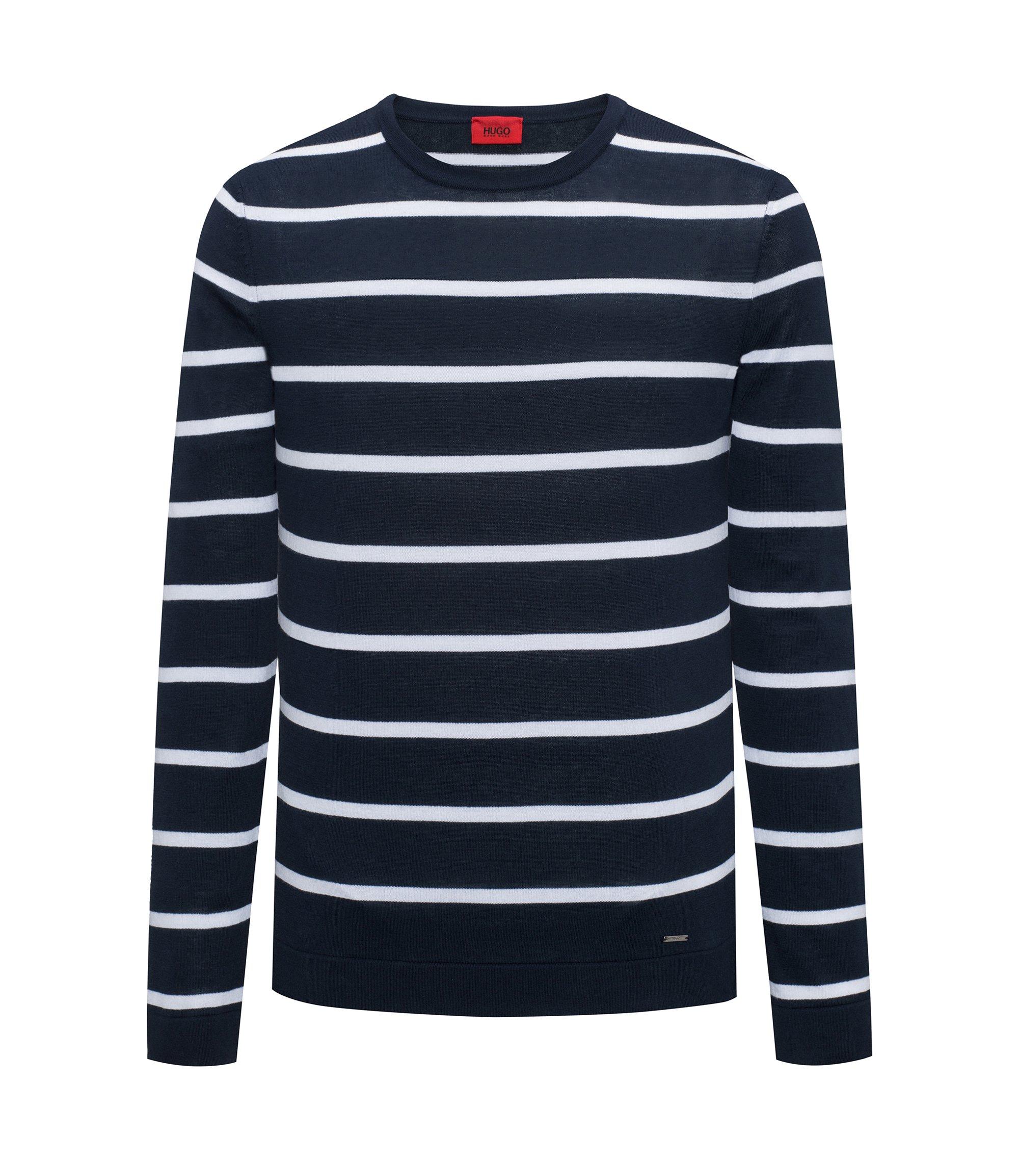 Striped sweater in lightweight cotton, Dark Blue