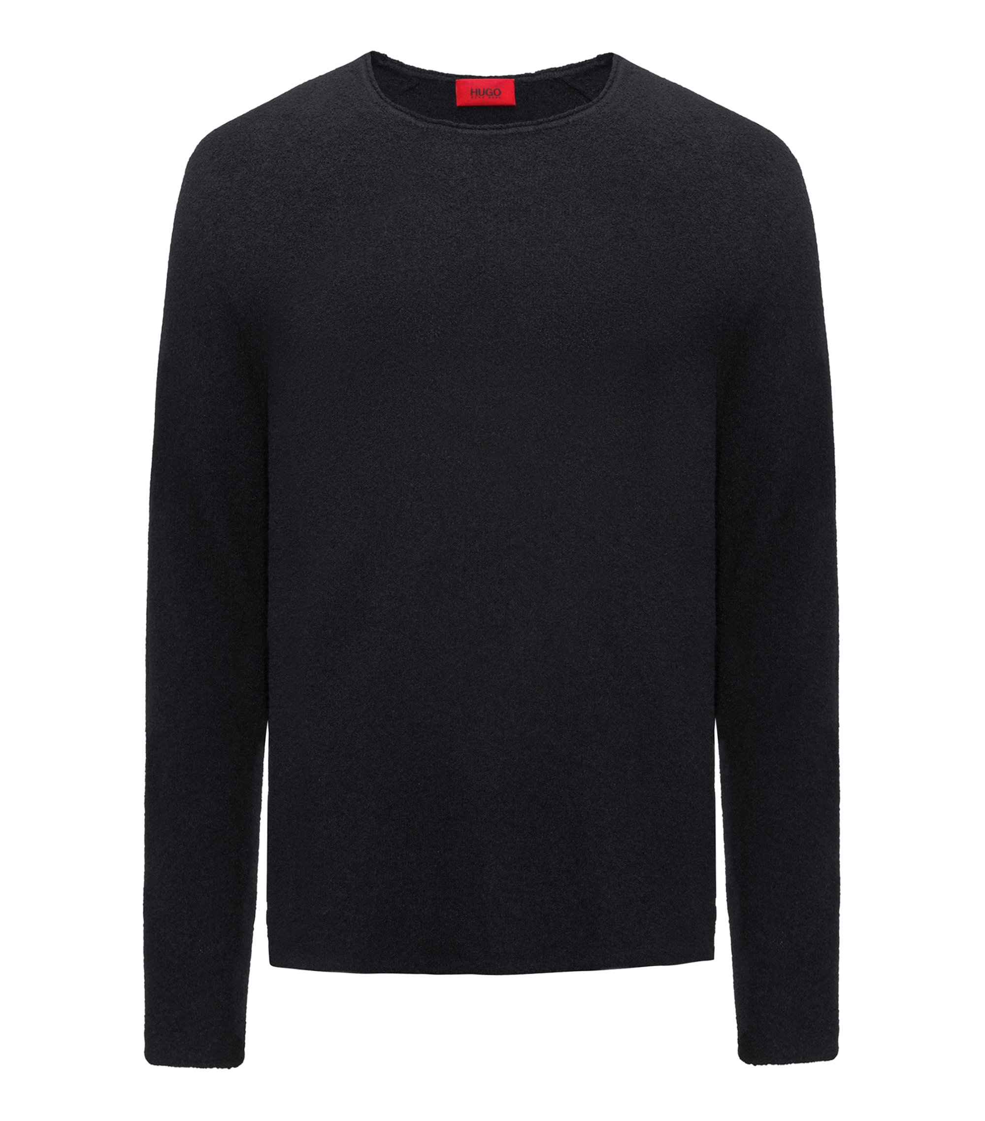 Cotton-blend sweater with terry structure, Black