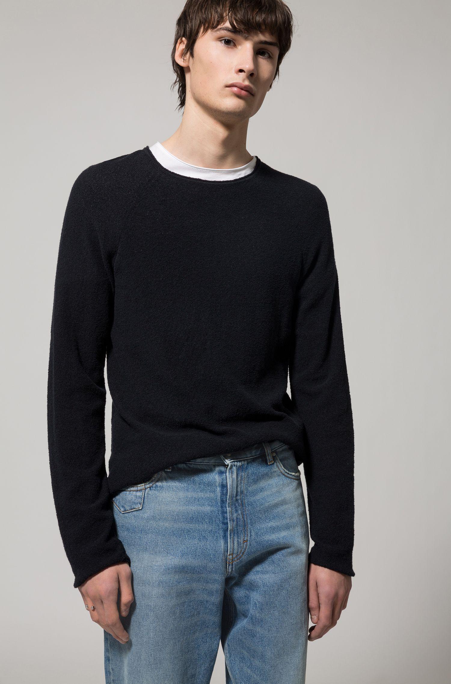 Jersey en mezcla de algodón con textura de felpa, Negro