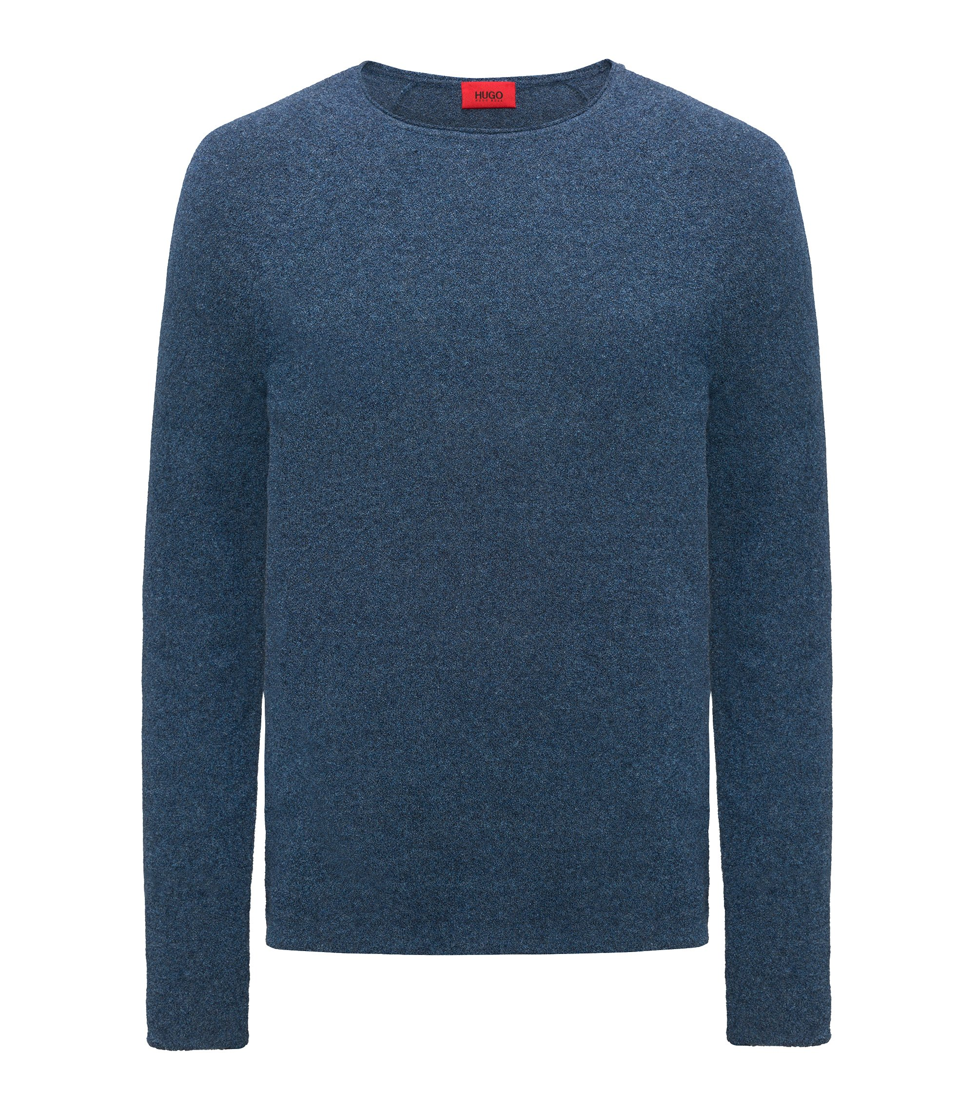 Cotton-blend sweater with terry structure, Blue