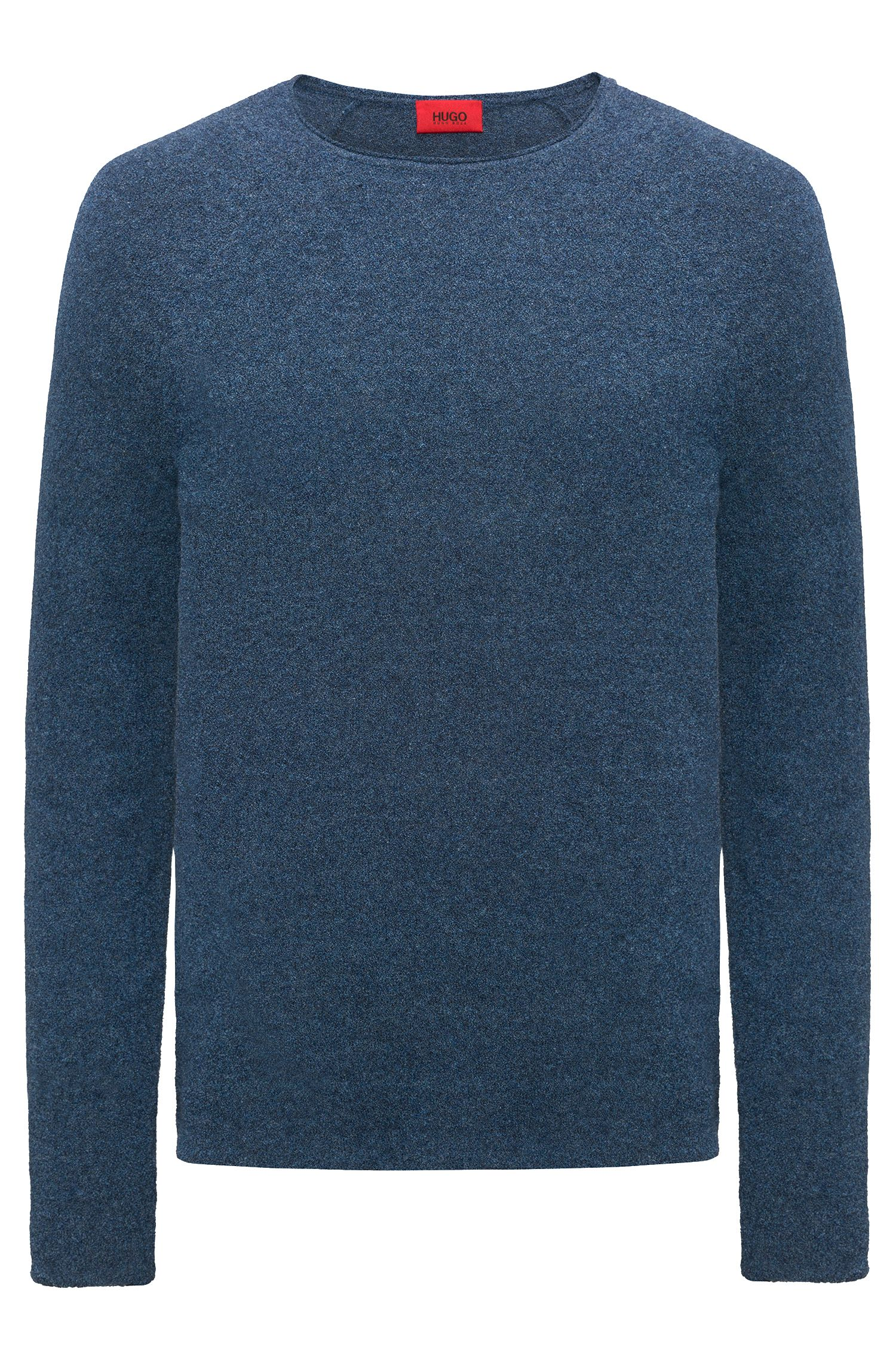 Cotton-blend sweater with terry structure