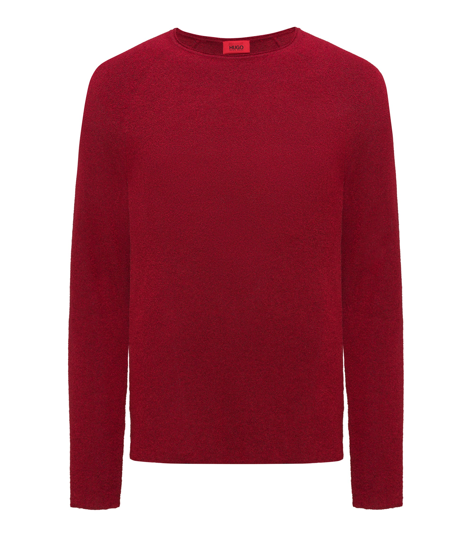 Cotton-blend sweater with terry structure, Red