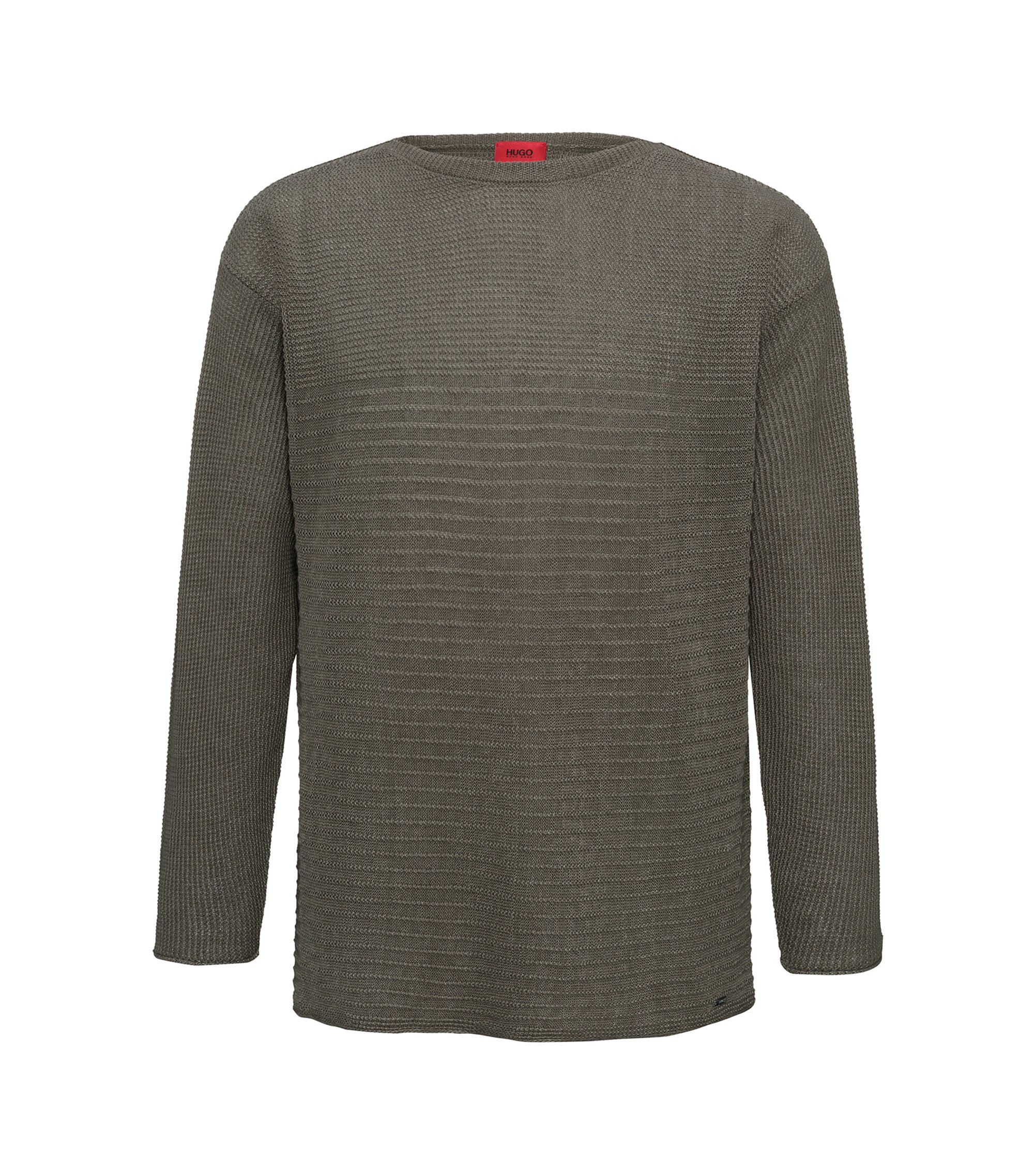 Knitted sweater in linen and cotton, Brown