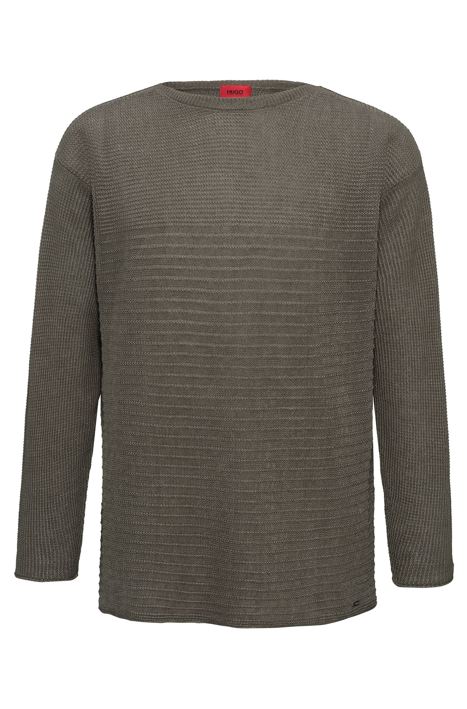 Knitted sweater in linen and cotton