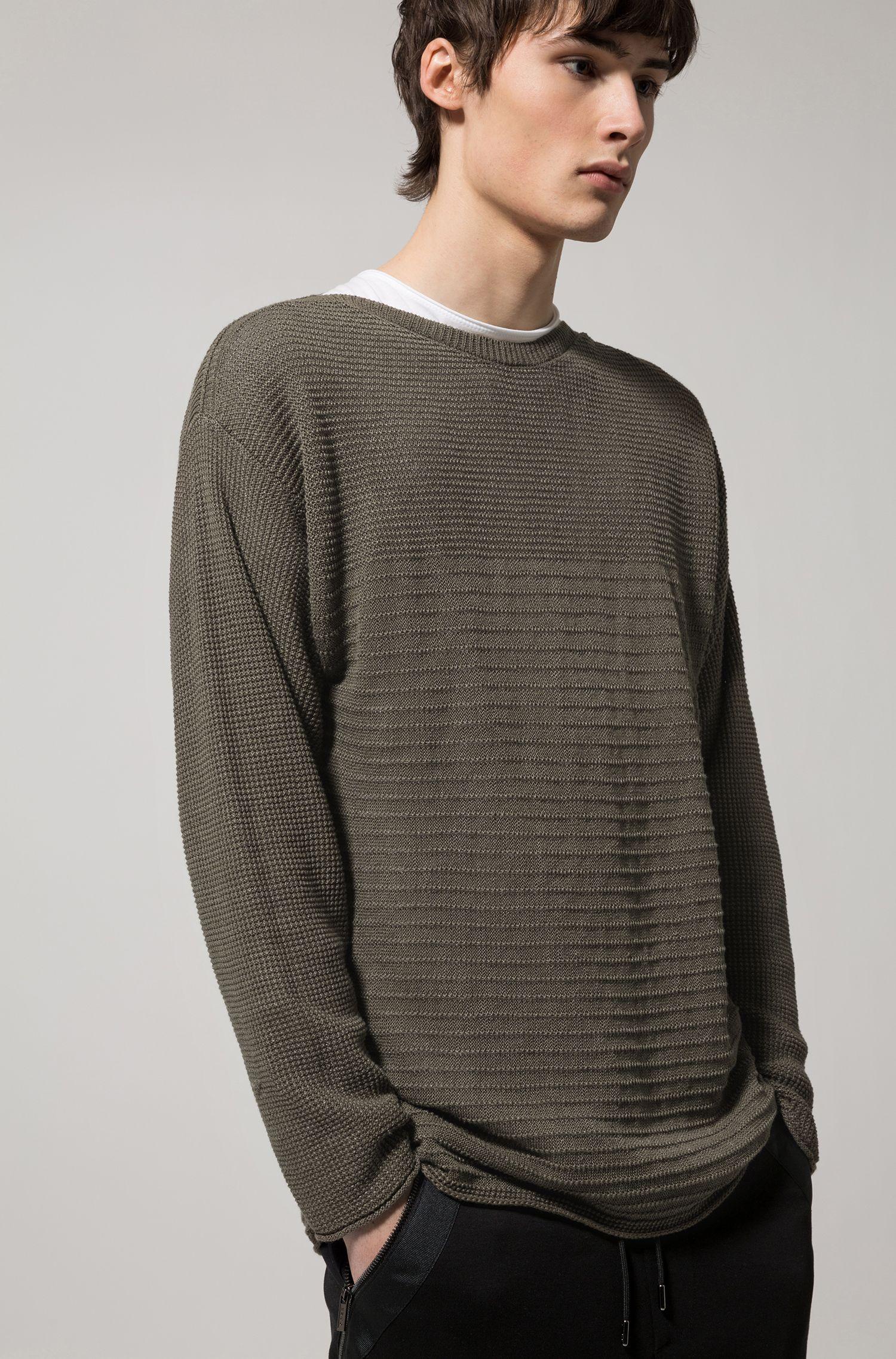Maglione lavorato in lino e cotone