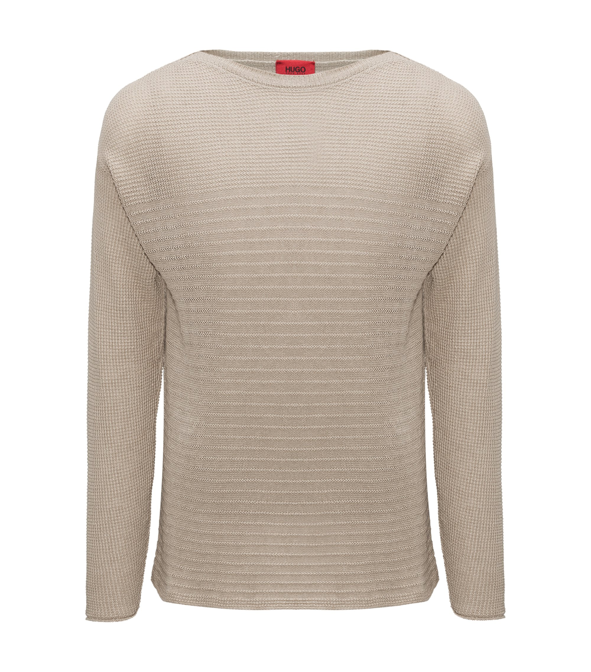 Knitted sweater in linen and cotton, Beige