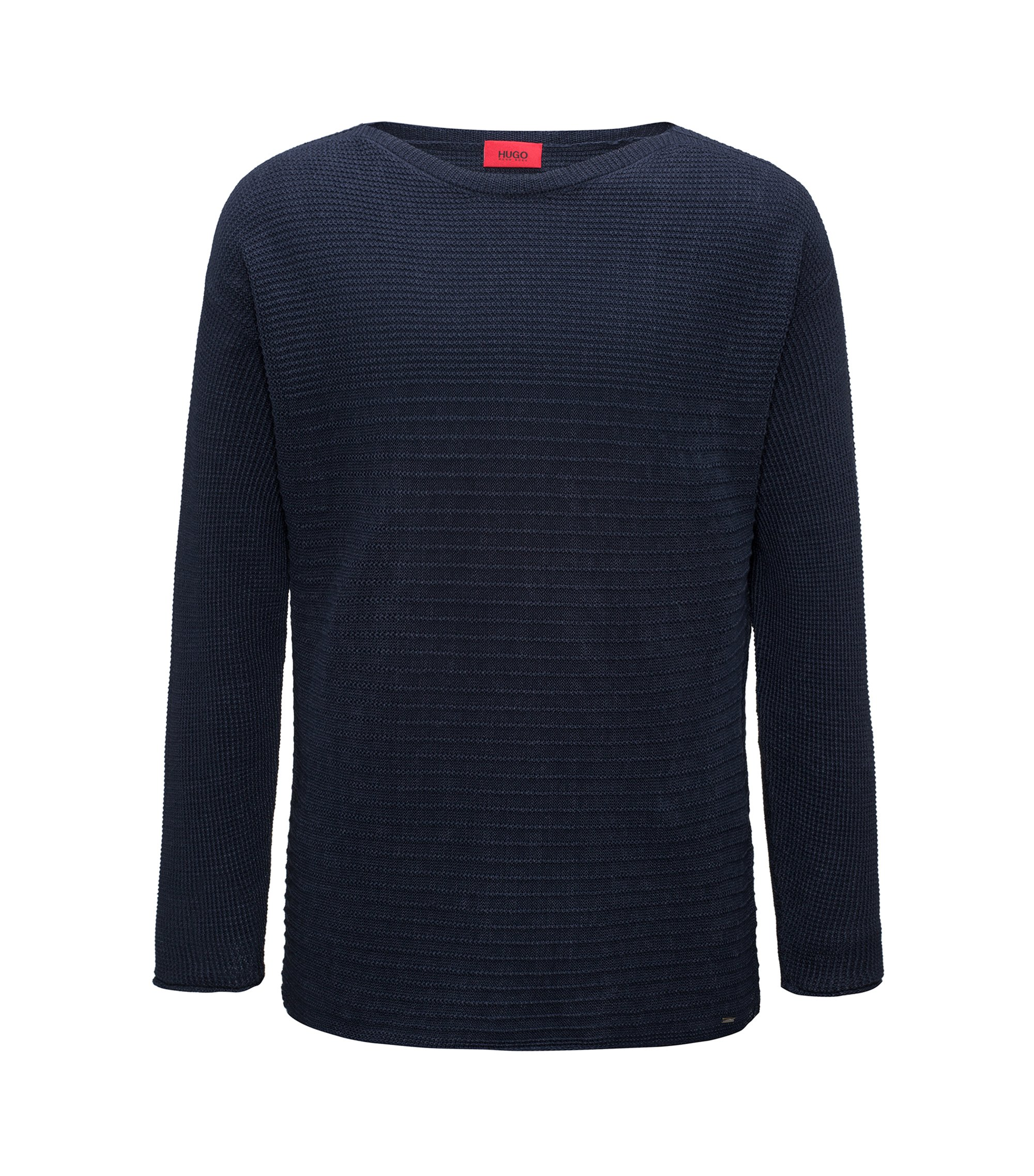 Knitted sweater in linen and cotton, Dark Blue