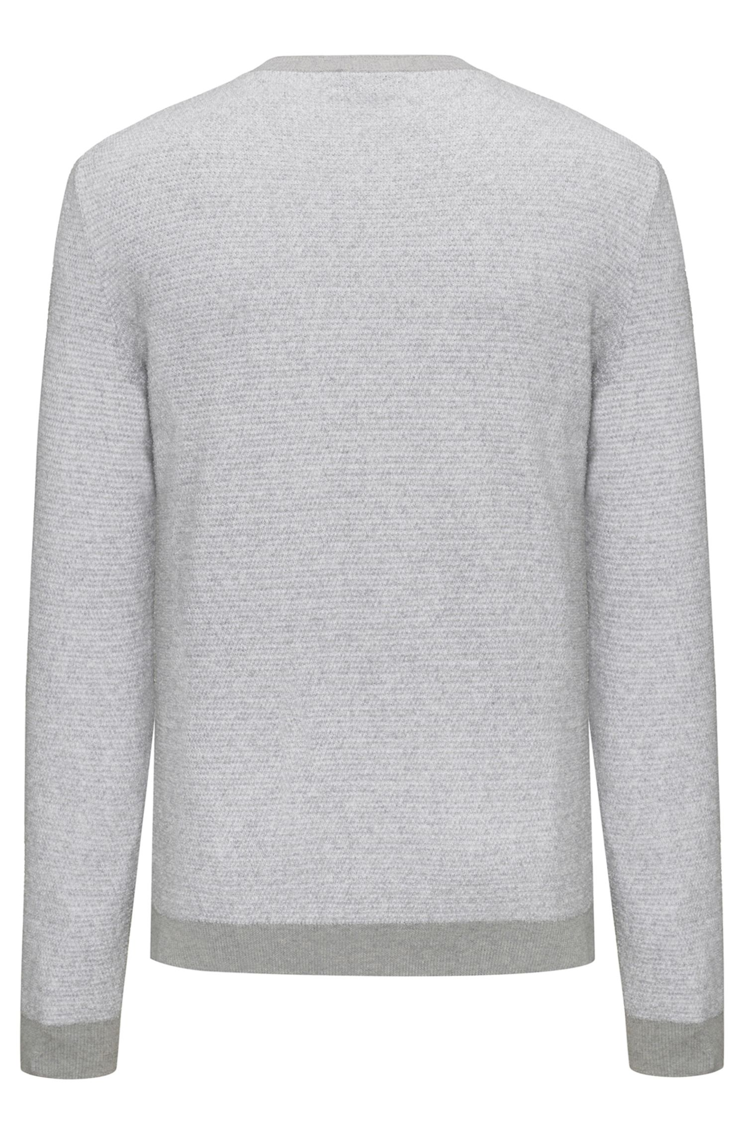 Crew-neck sweater in a structured cotton blend, Grey