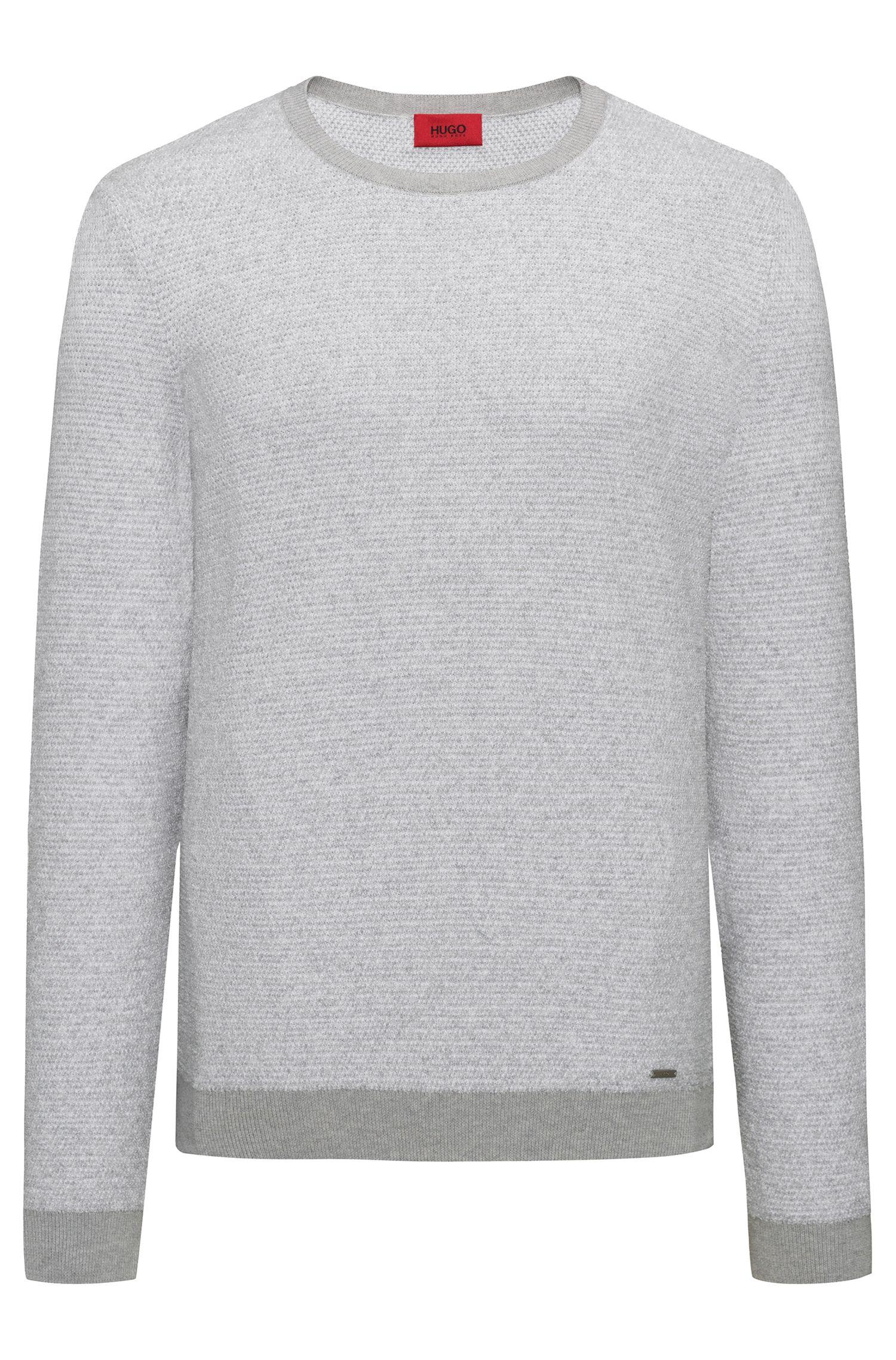 Pullover aus strukturiertem Baumwoll-Mix mit Rundhalsausschnitt