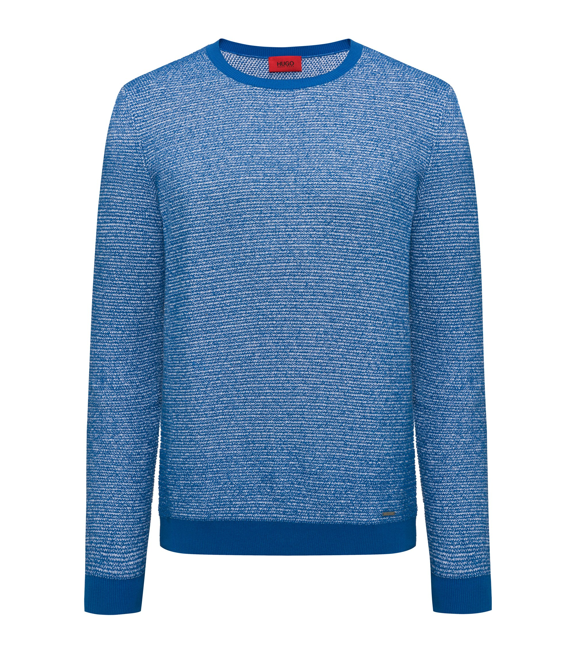Crew-neck sweater in a structured cotton blend, Blue