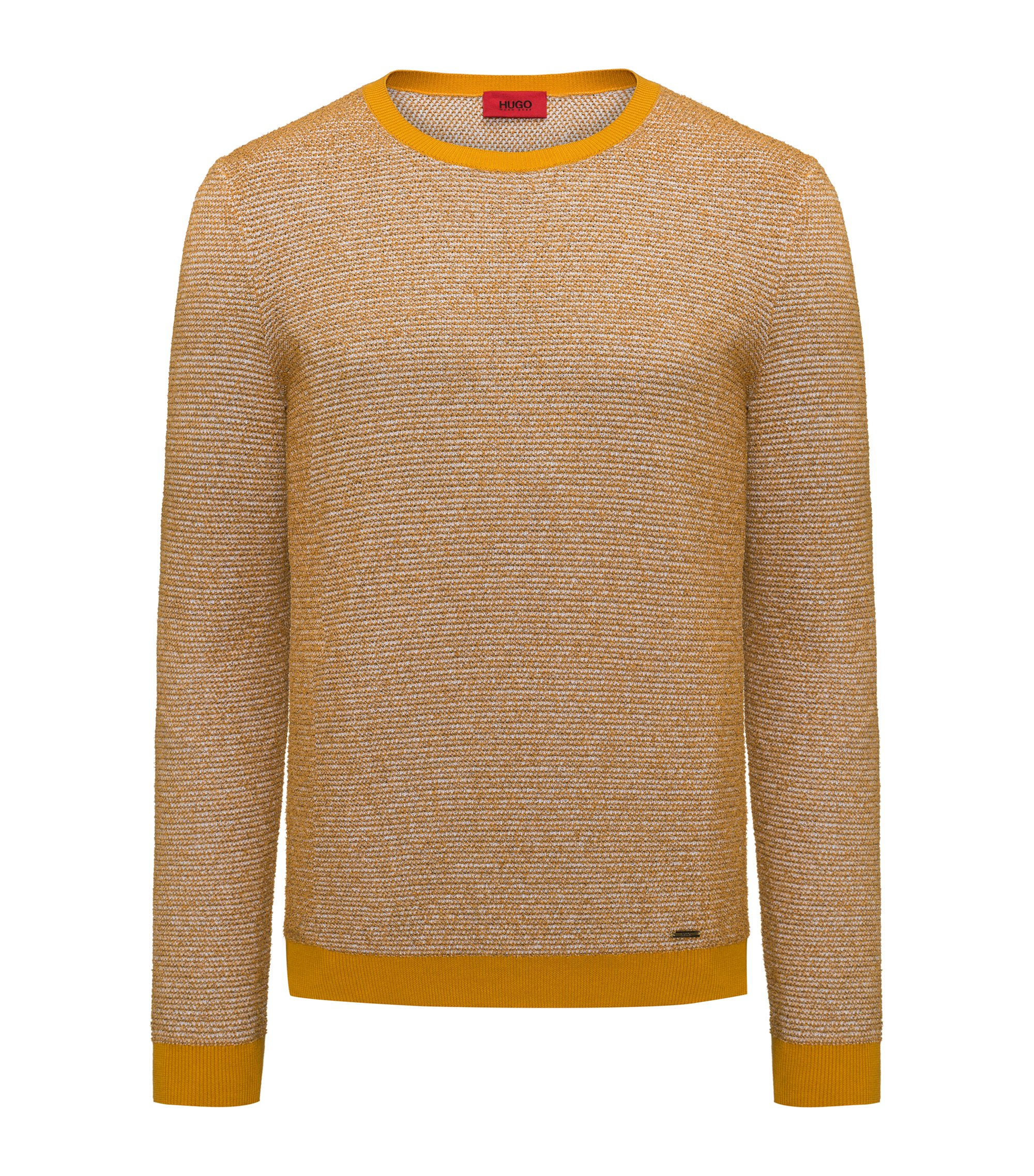 Crew-neck sweater in a structured cotton blend, Dark Yellow