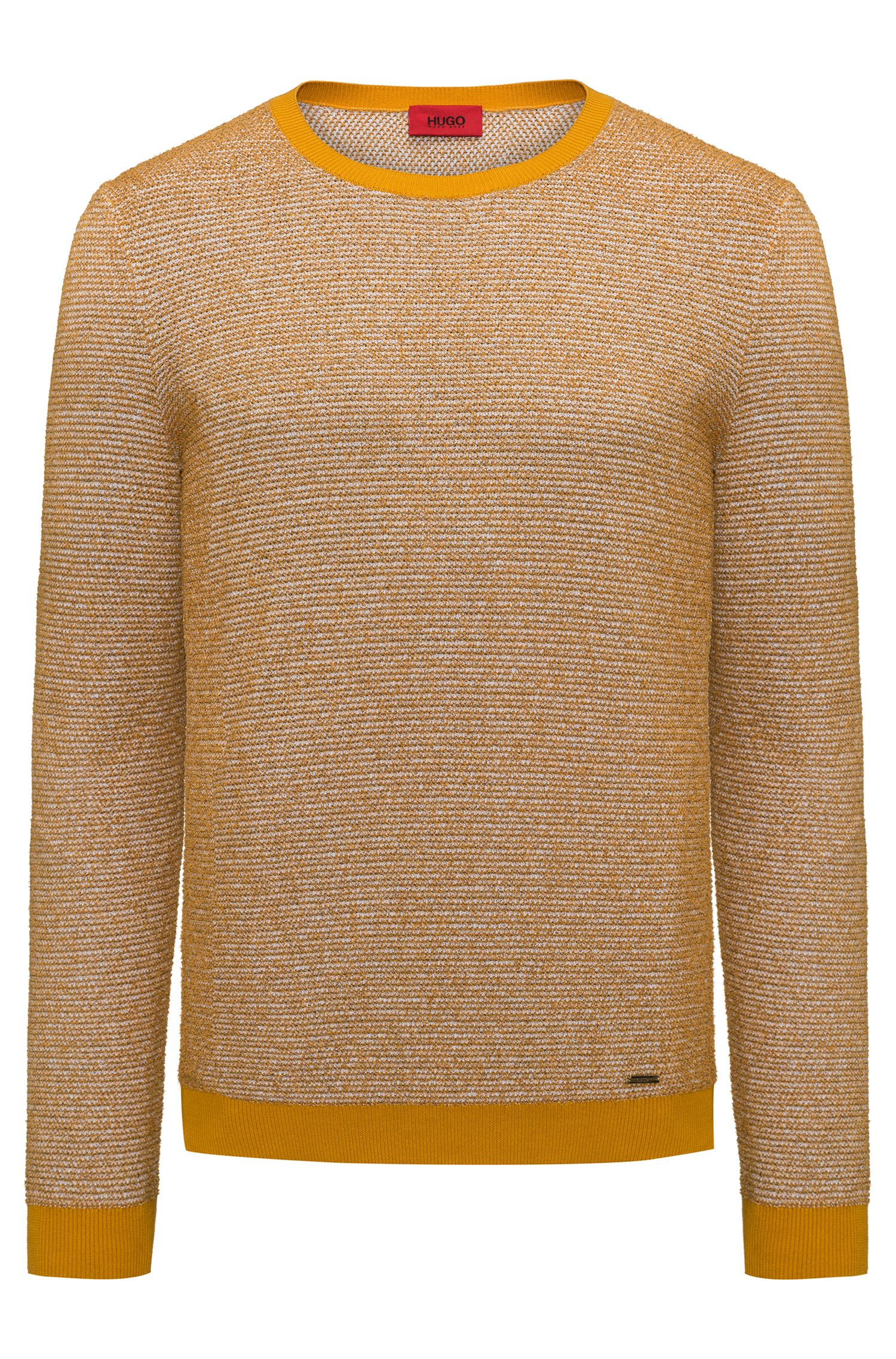 Crew-neck sweater in a structured cotton blend