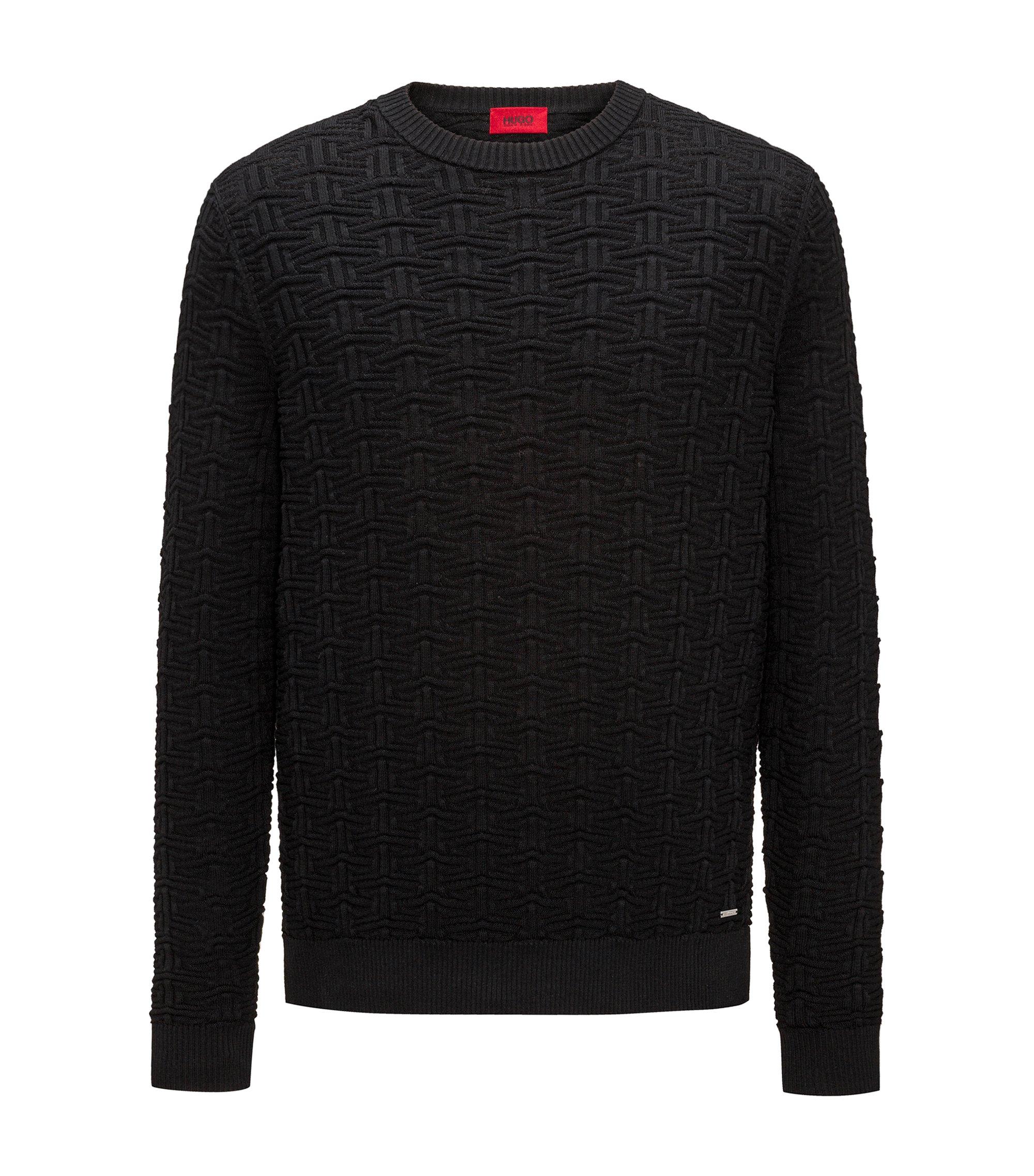 Sweater in three-dimensional cotton jacquard, Black