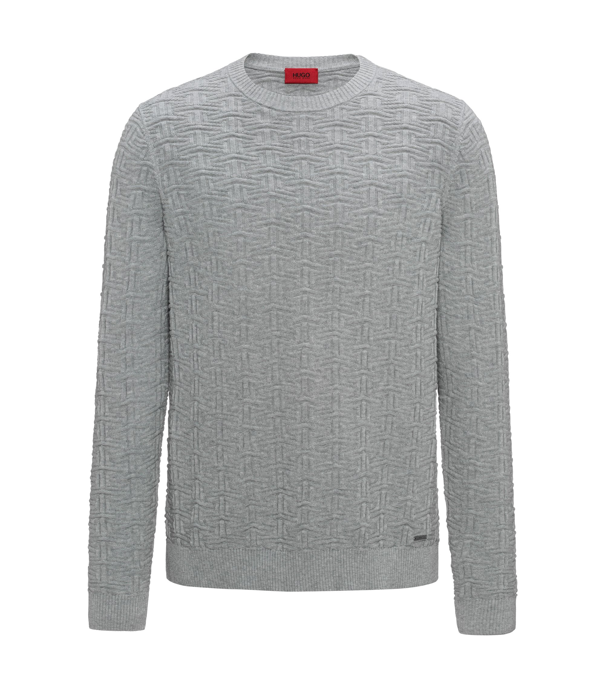 Sweater in three-dimensional cotton jacquard, Dark Grey