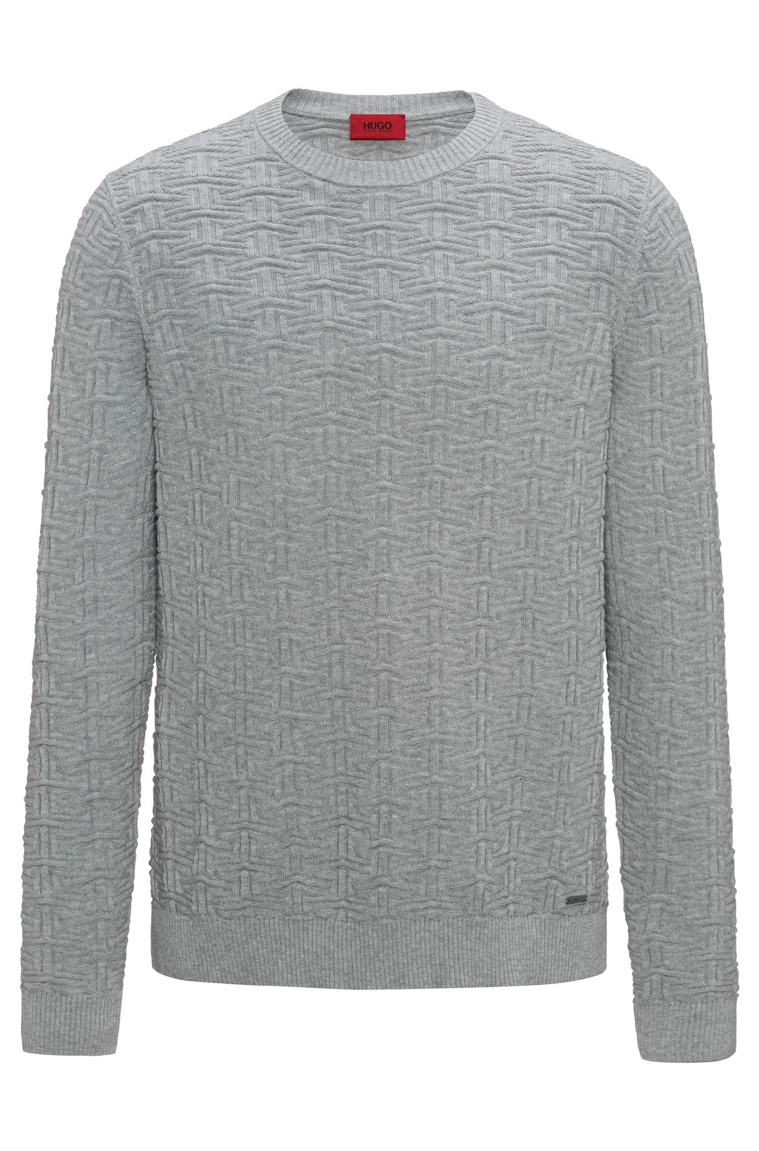 Sweater in three-dimensional cotton jacquard