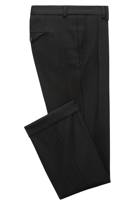 Pantalons Plissés À Jambes Larges Moulant Dans Une Bande En Laine Vierge Mélangent Patron Hugo jQM3o