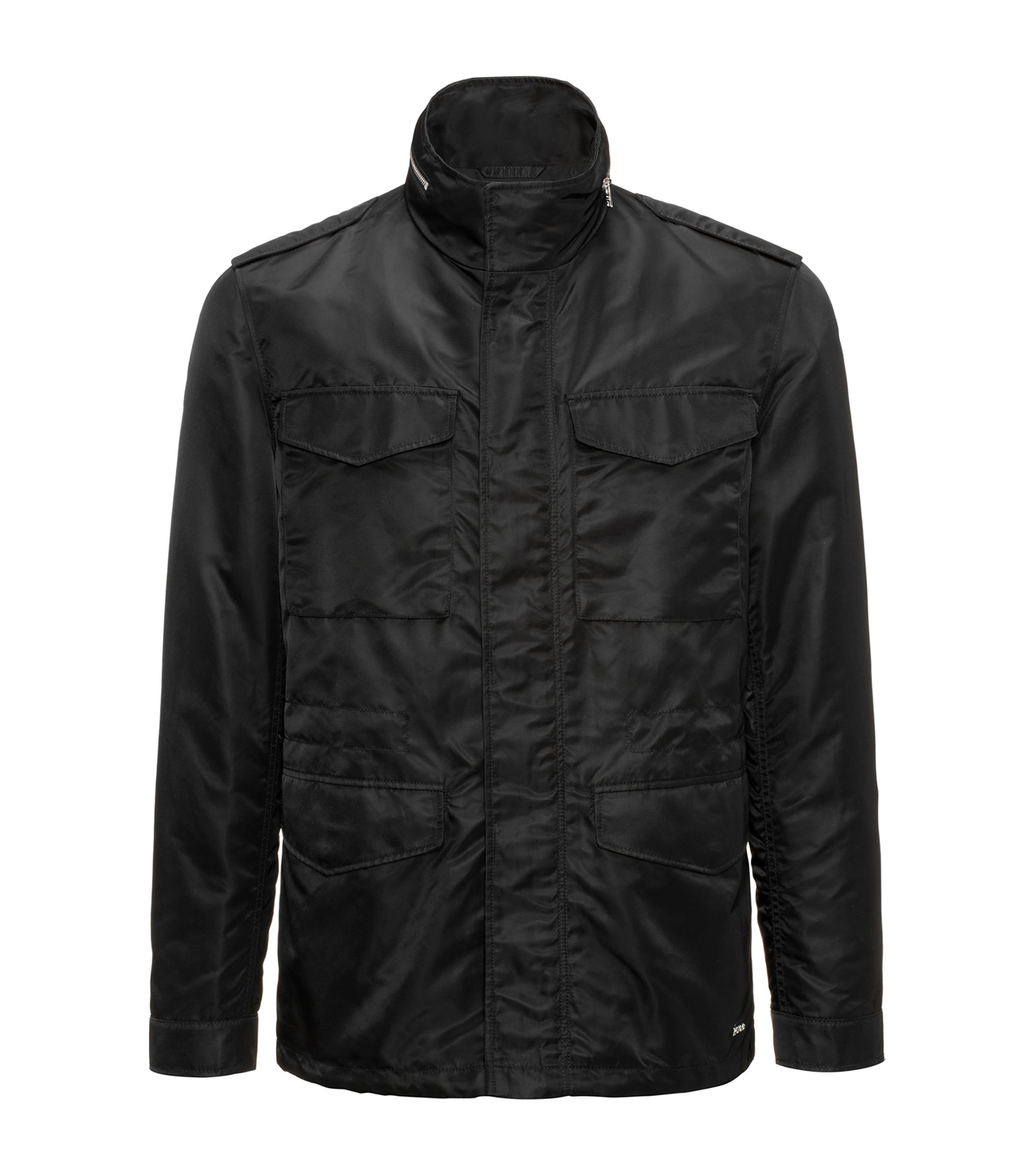 Field jacket in technical fabric with Teflon™ finish, Black