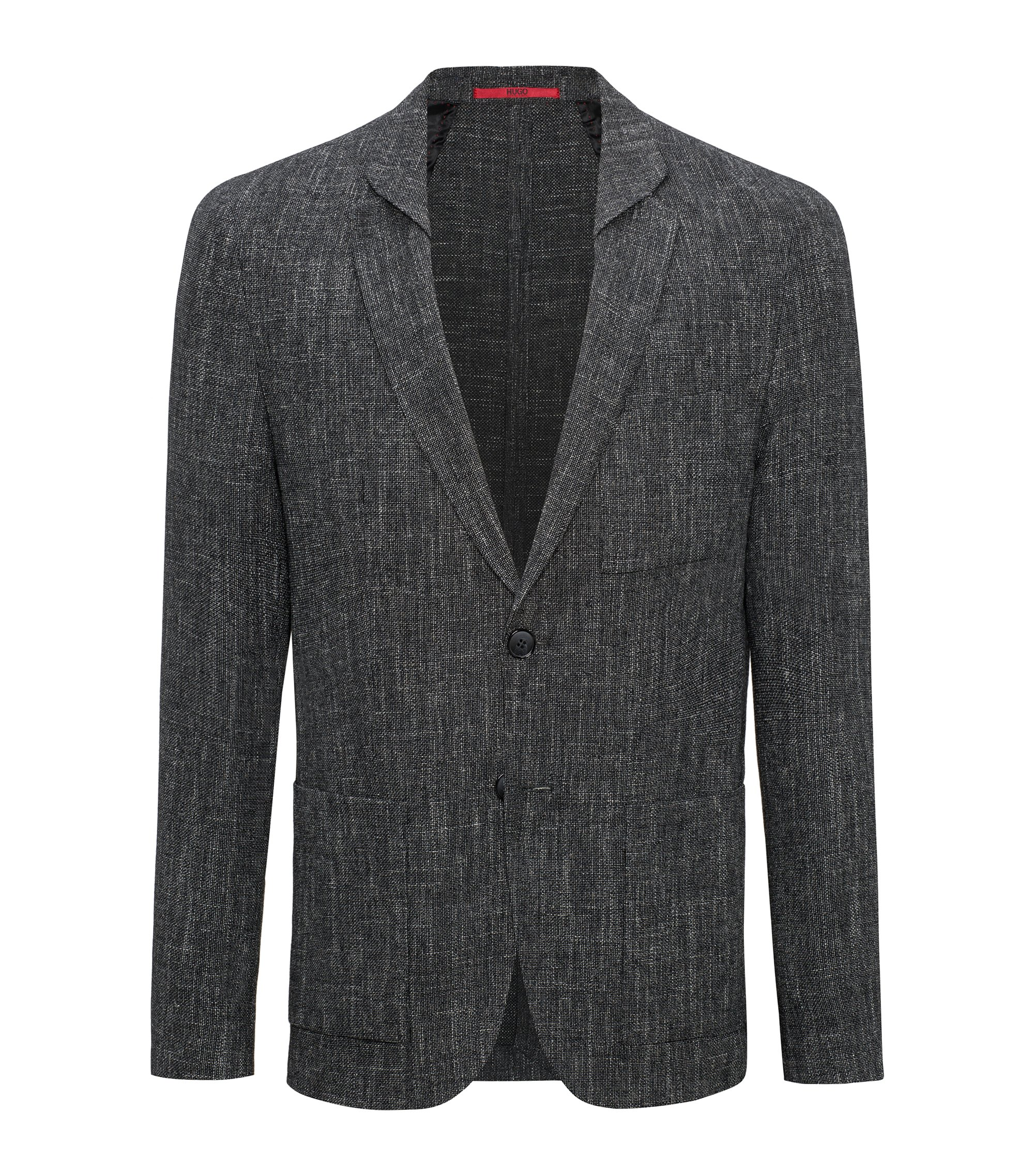 Blazer slim fit a trama larga in misto lana vergine, Nero