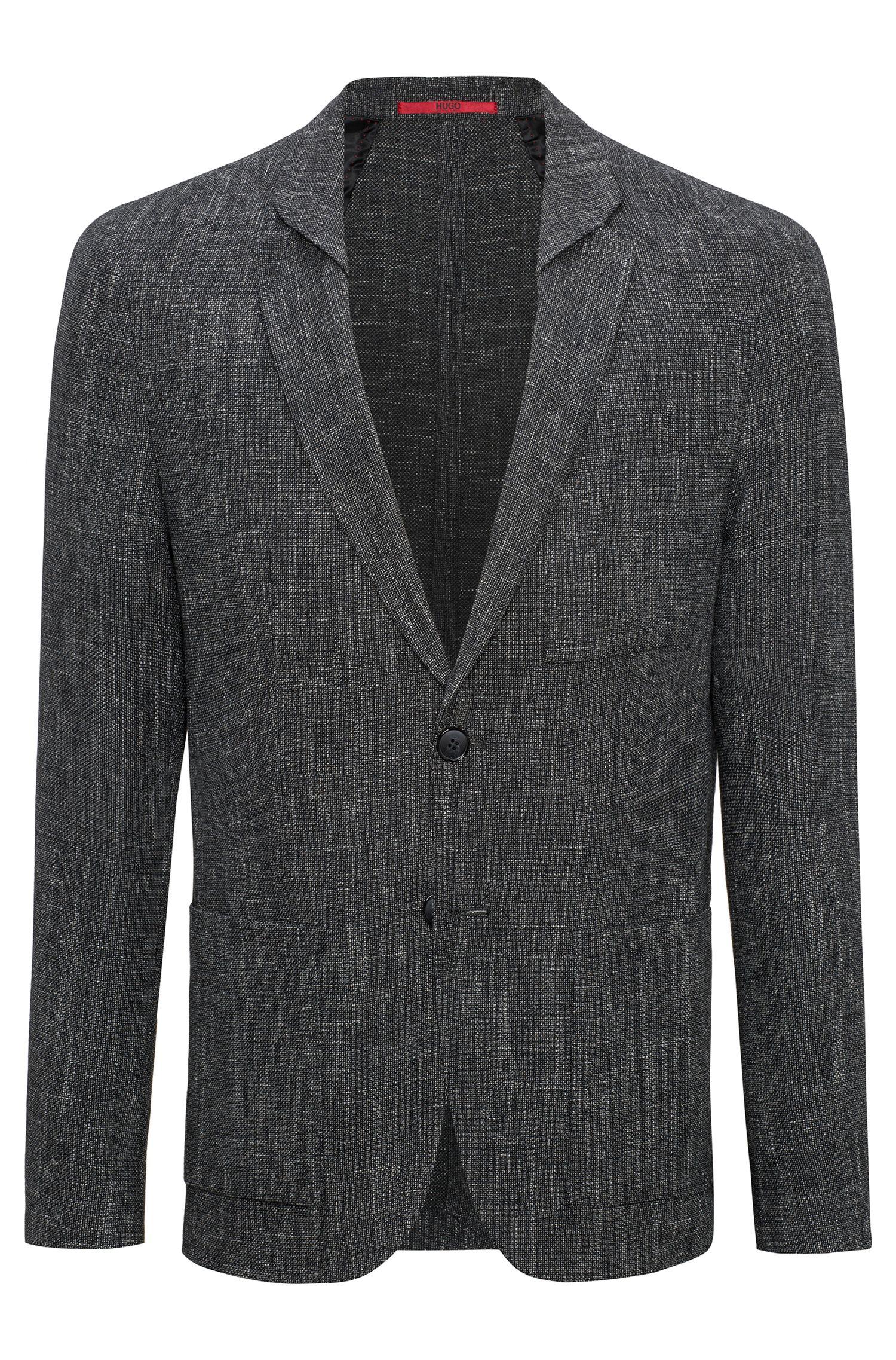 Slim-fit hopsack blazer in a virgin-wool blend