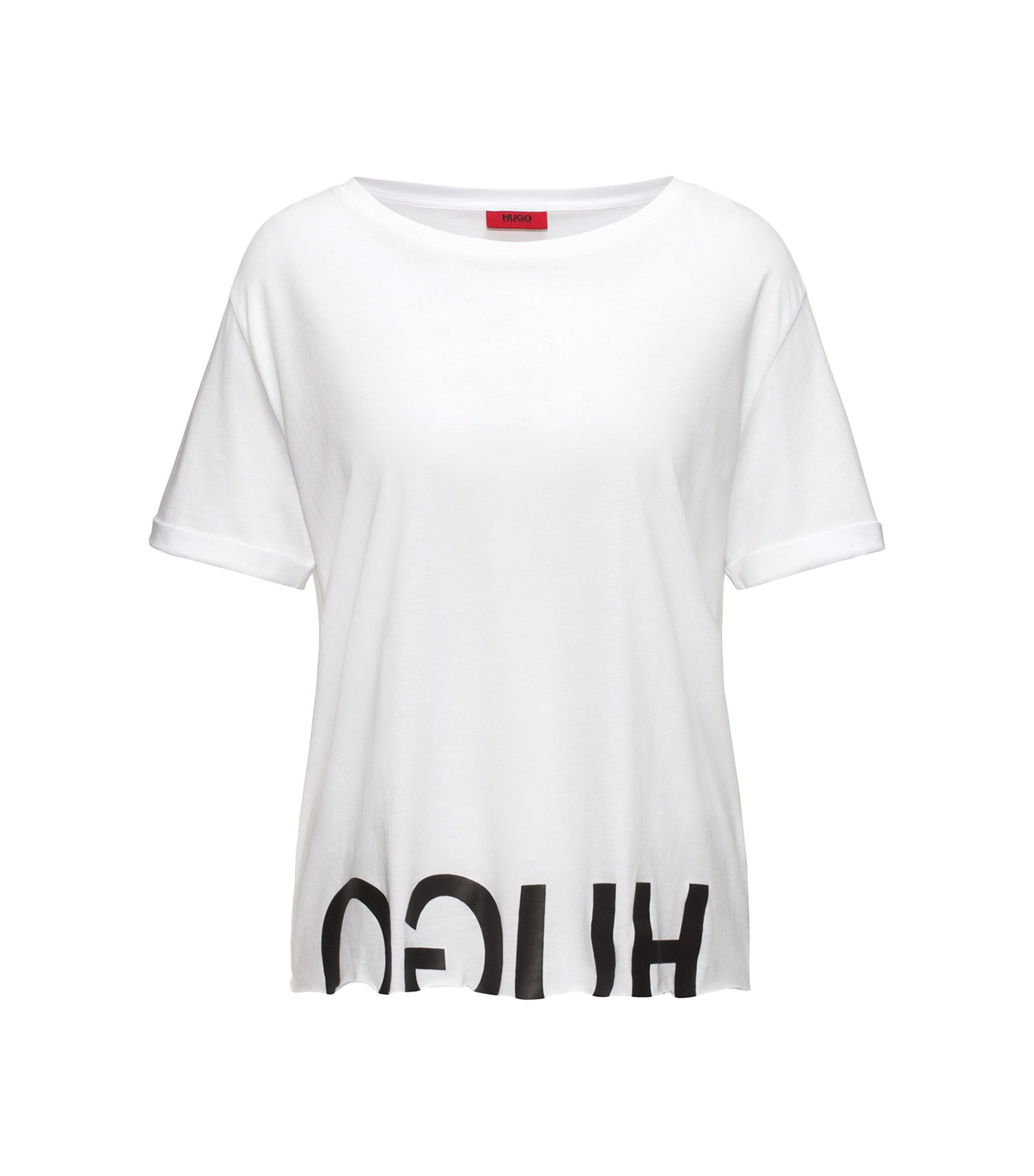 Camiseta relaxed fit de algodón con logo invertido, Blanco