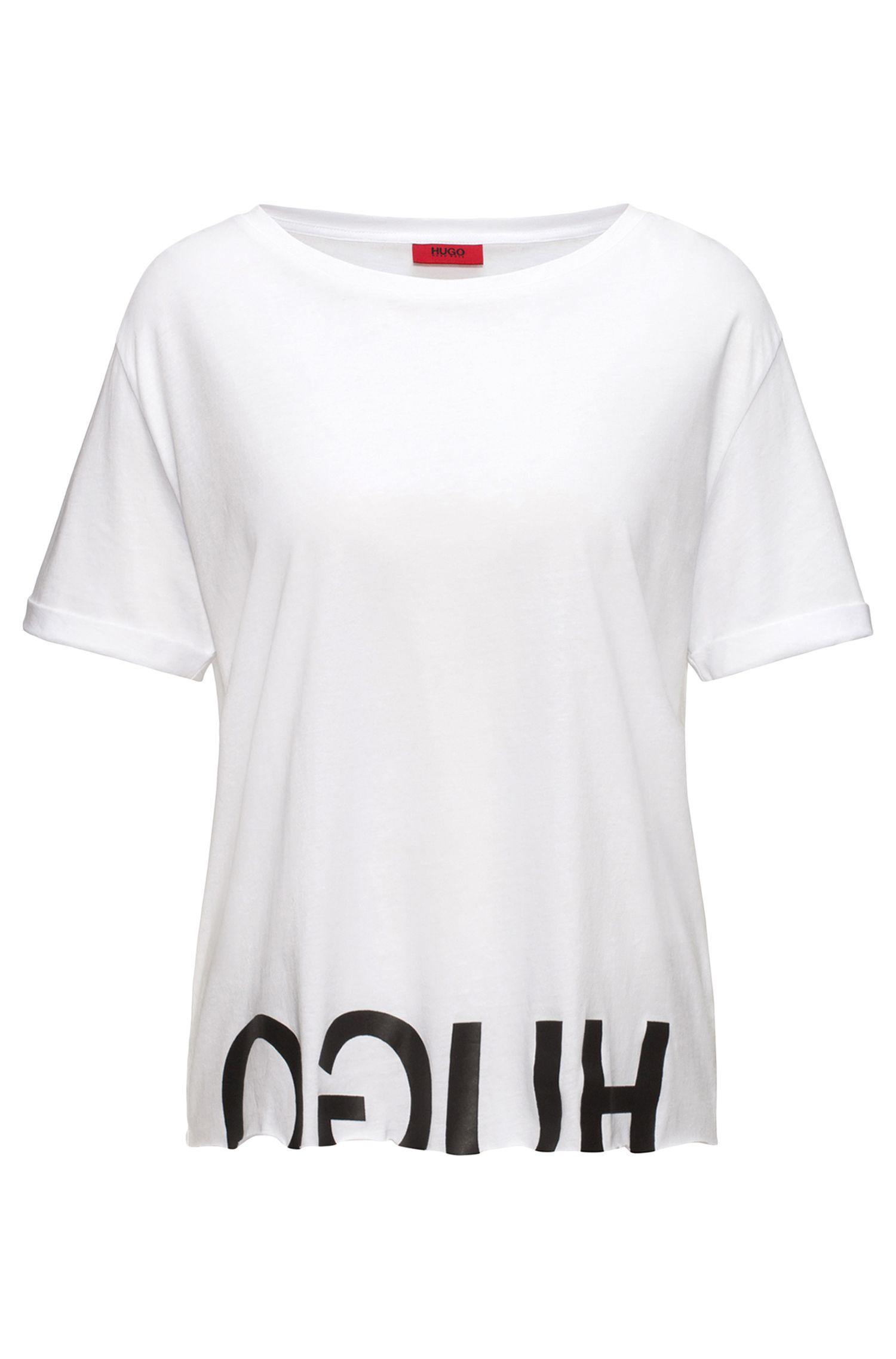 Camiseta relaxed fit de algodón con logo invertido
