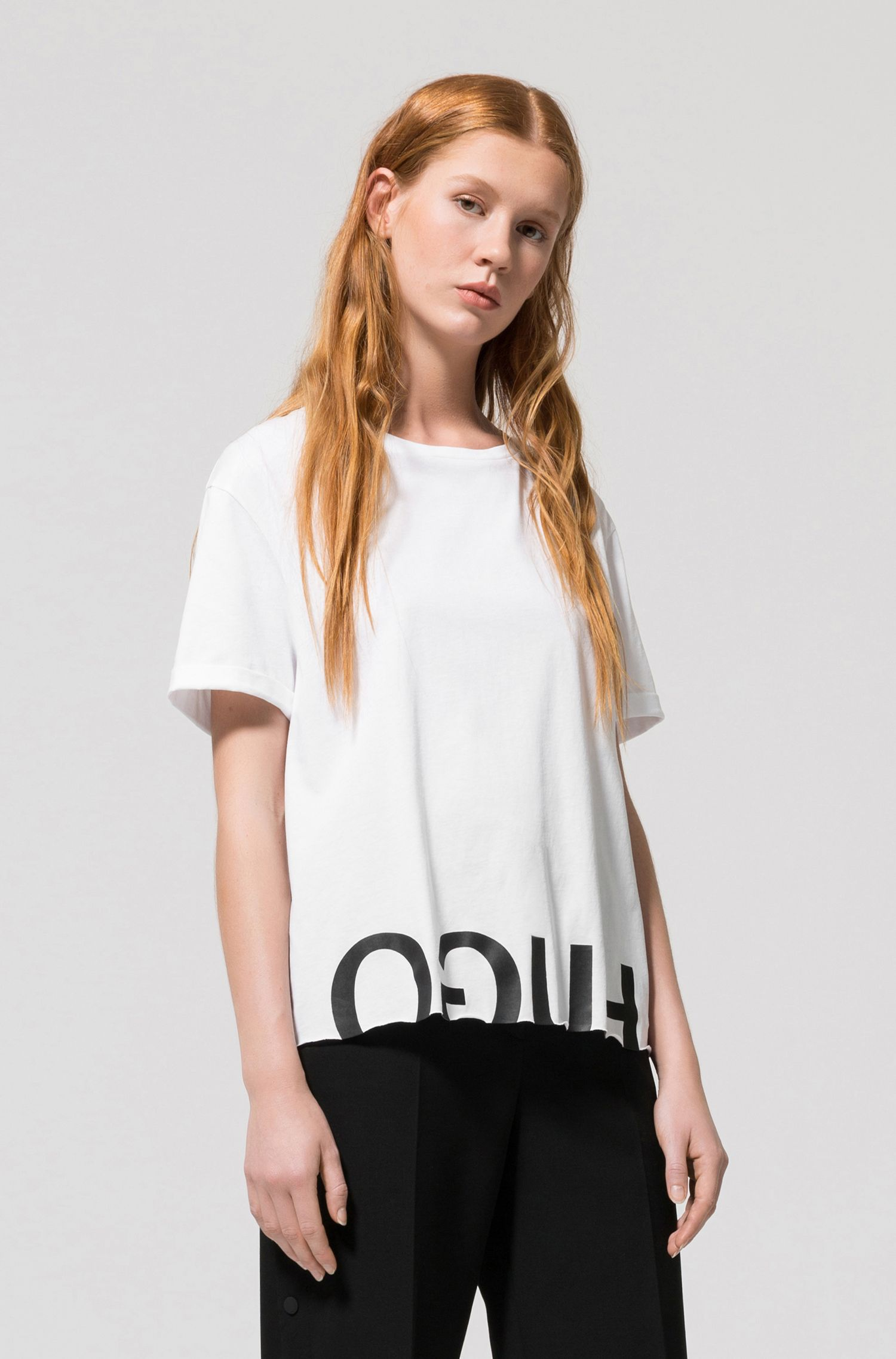 Reverse logo cotton T-shirt in a relaxed fit