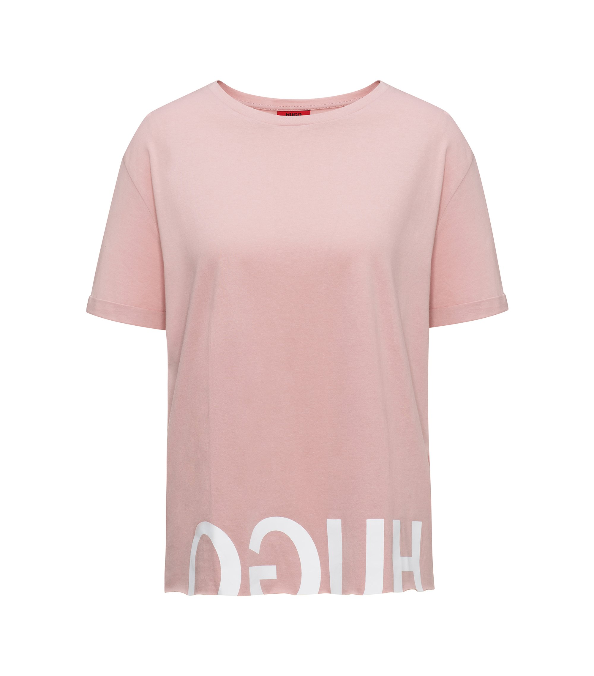 Reverse logo cotton T-shirt in a relaxed fit, light pink