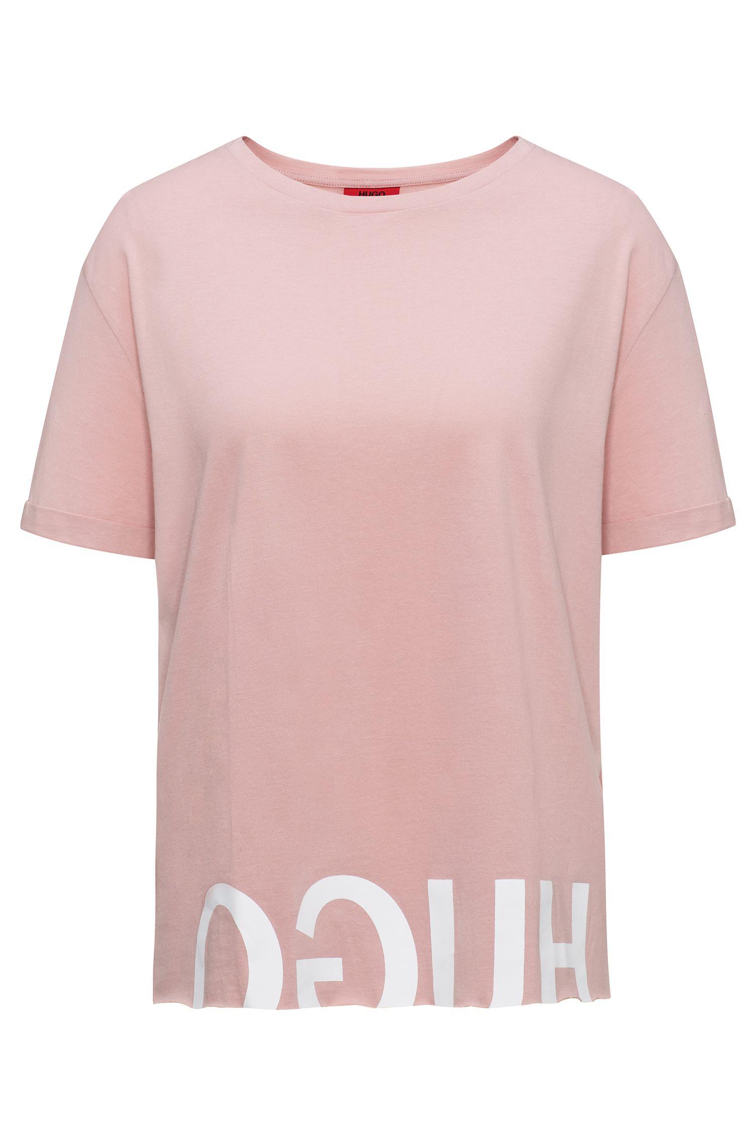 Relaxed-fit T-shirt van katoen met gespiegeld logo