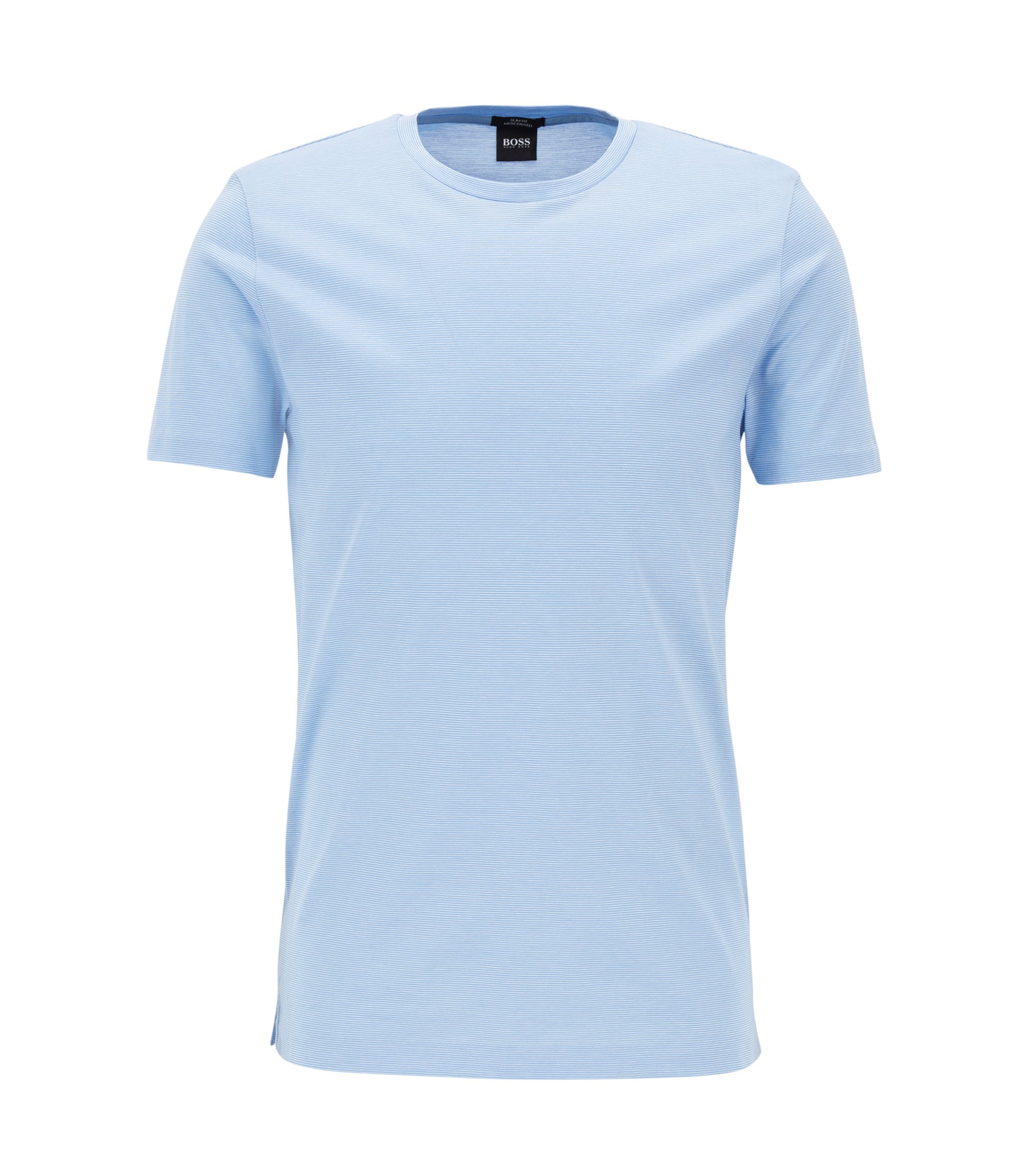 T-shirt Slim Fit en coton mercerisé, Bleu vif