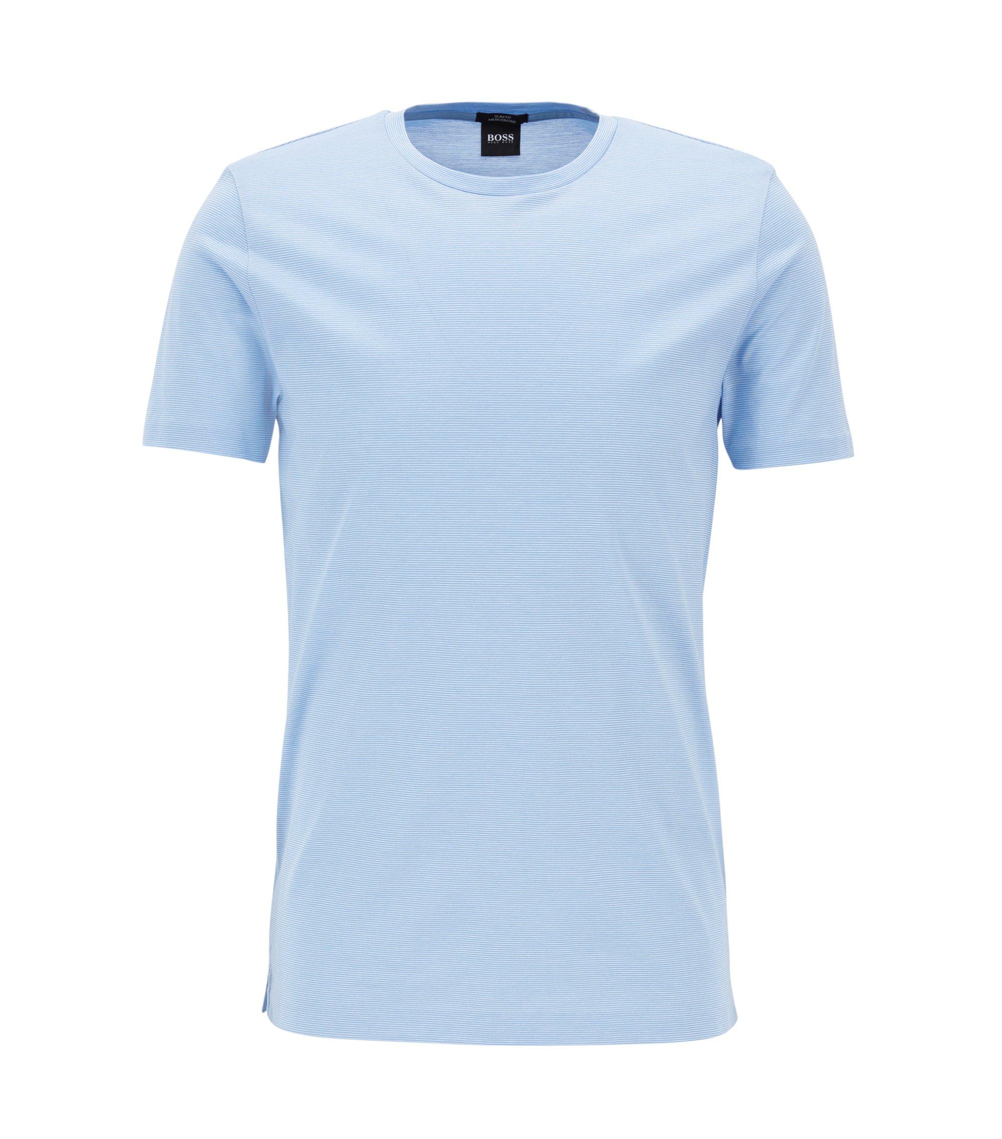Slim-Fit T-Shirt aus merzerisierter Baumwolle, Hellblau