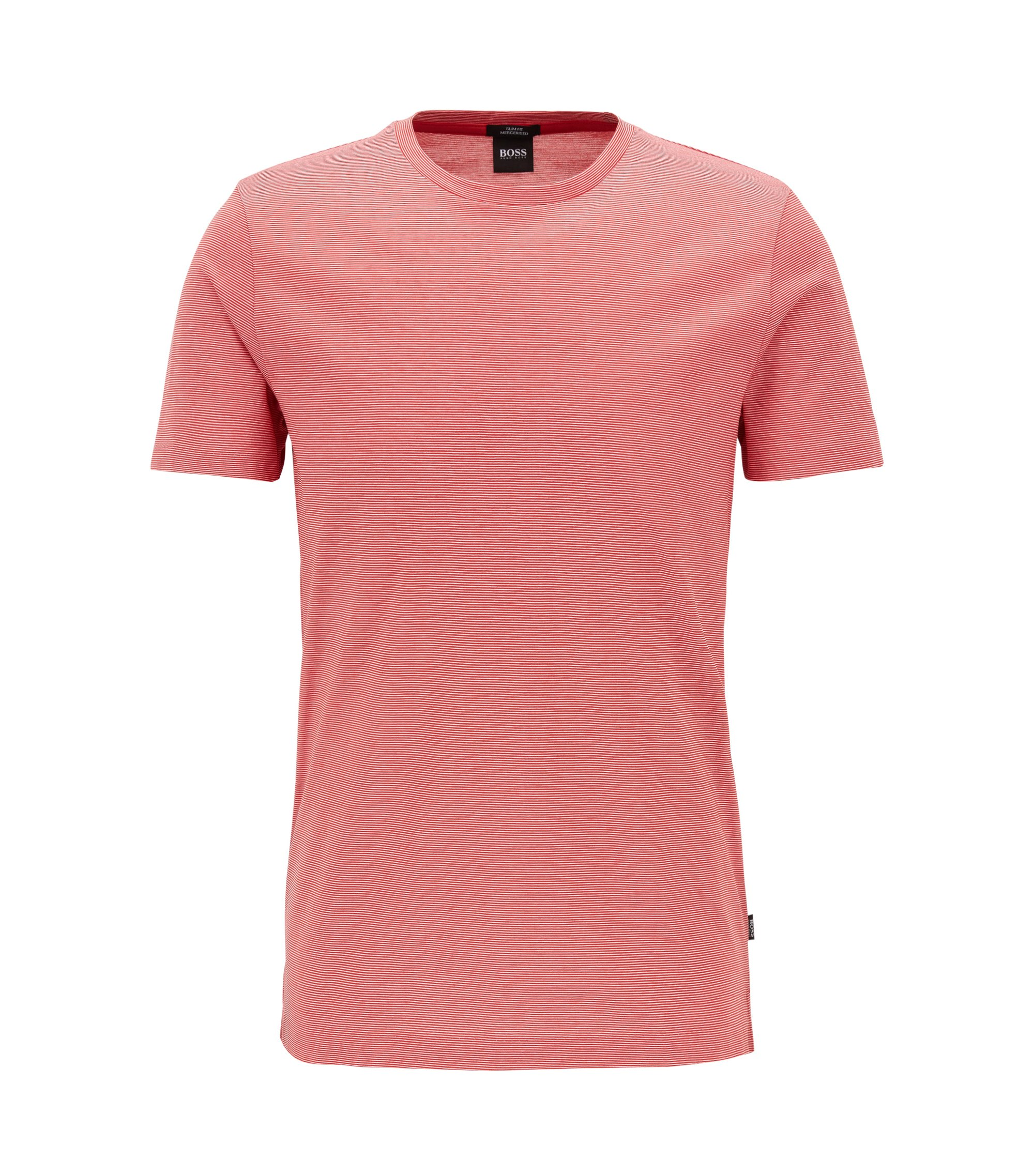 Slim-fit T-shirt in mercerised cotton, Dark pink