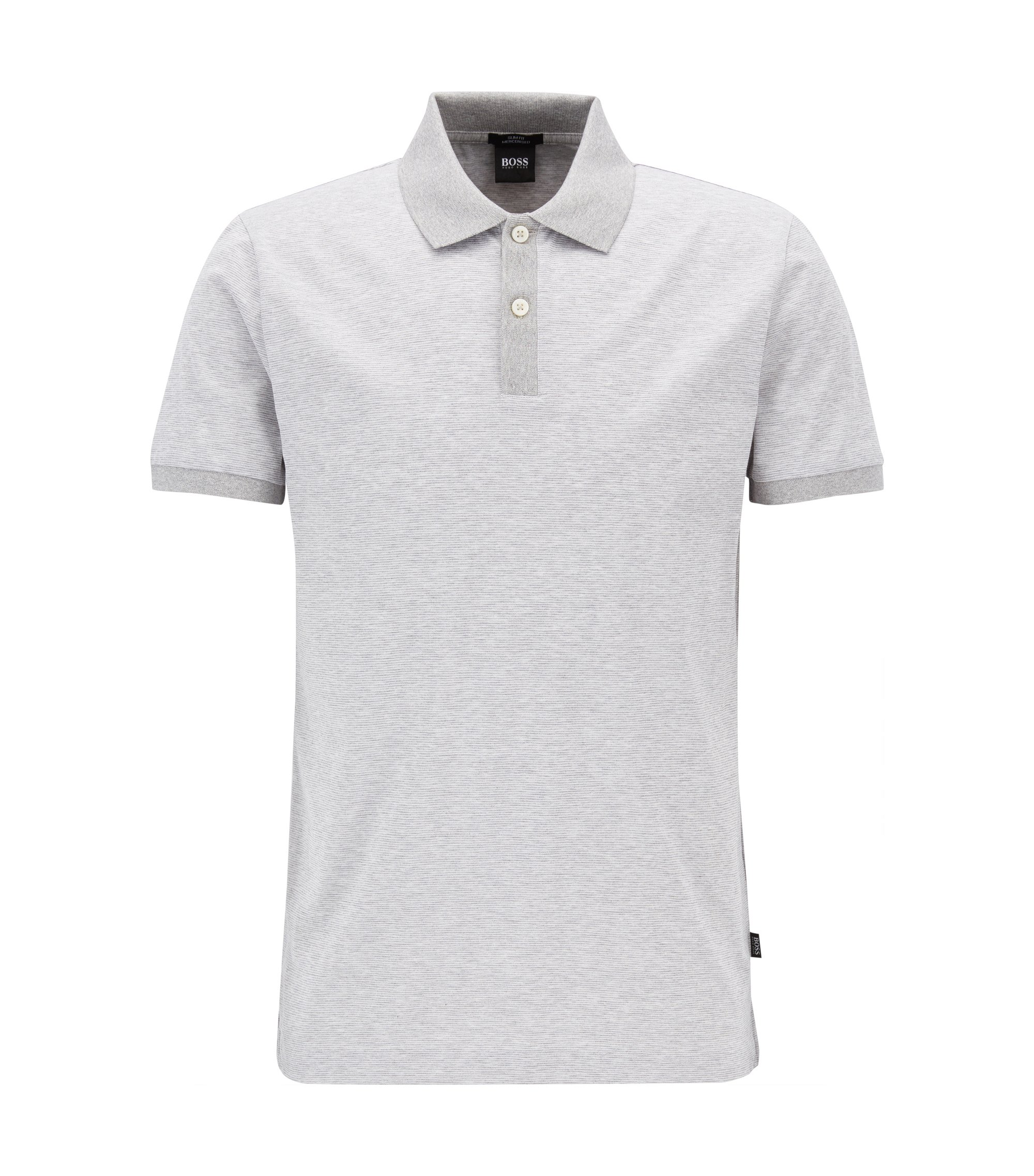 Finely striped slim-fit polo shirt in mercerised cotton, Light Grey