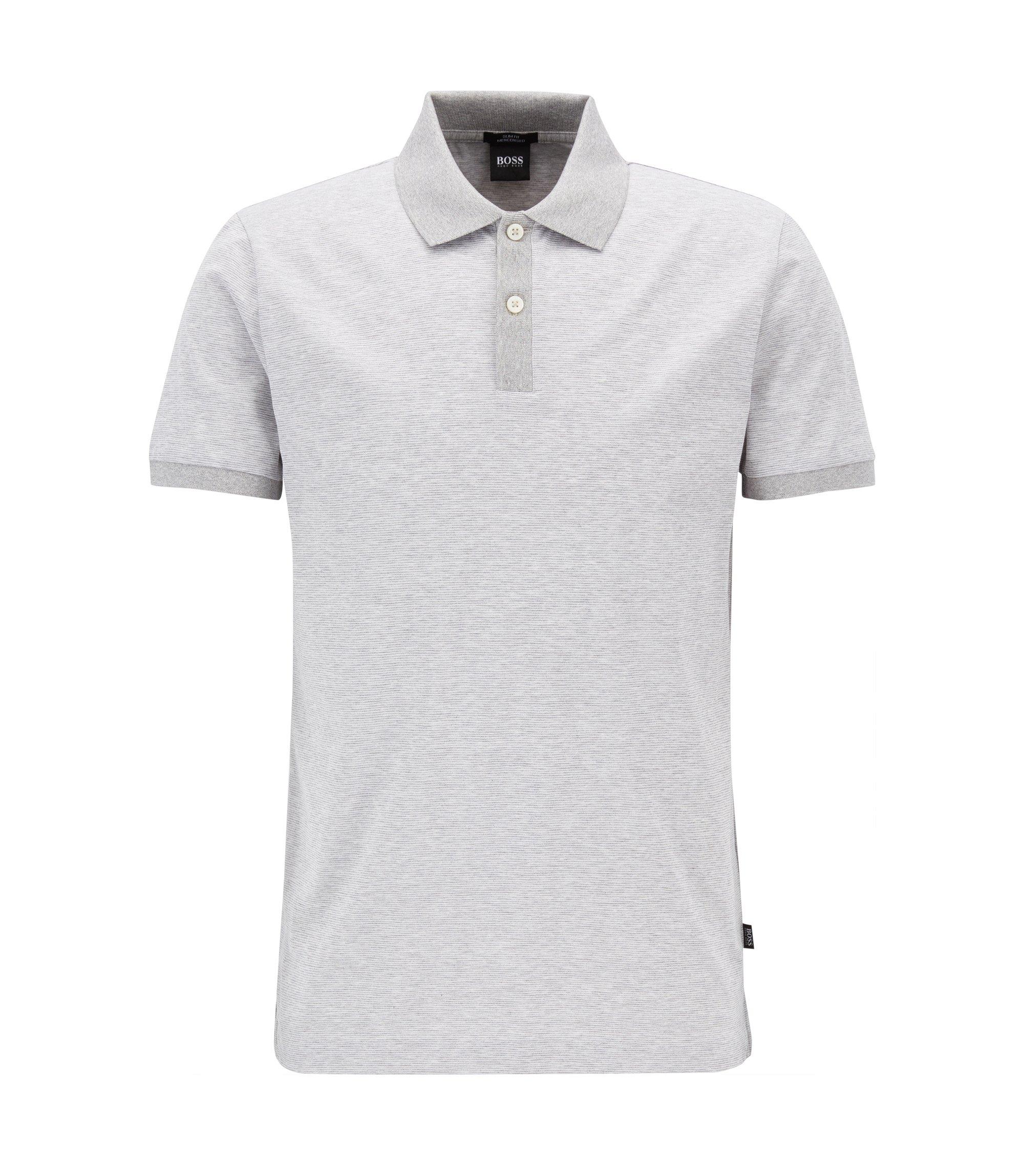 Fein gestreiftes Slim-Fit Poloshirt aus merzerisierter Baumwolle, Hellgrau